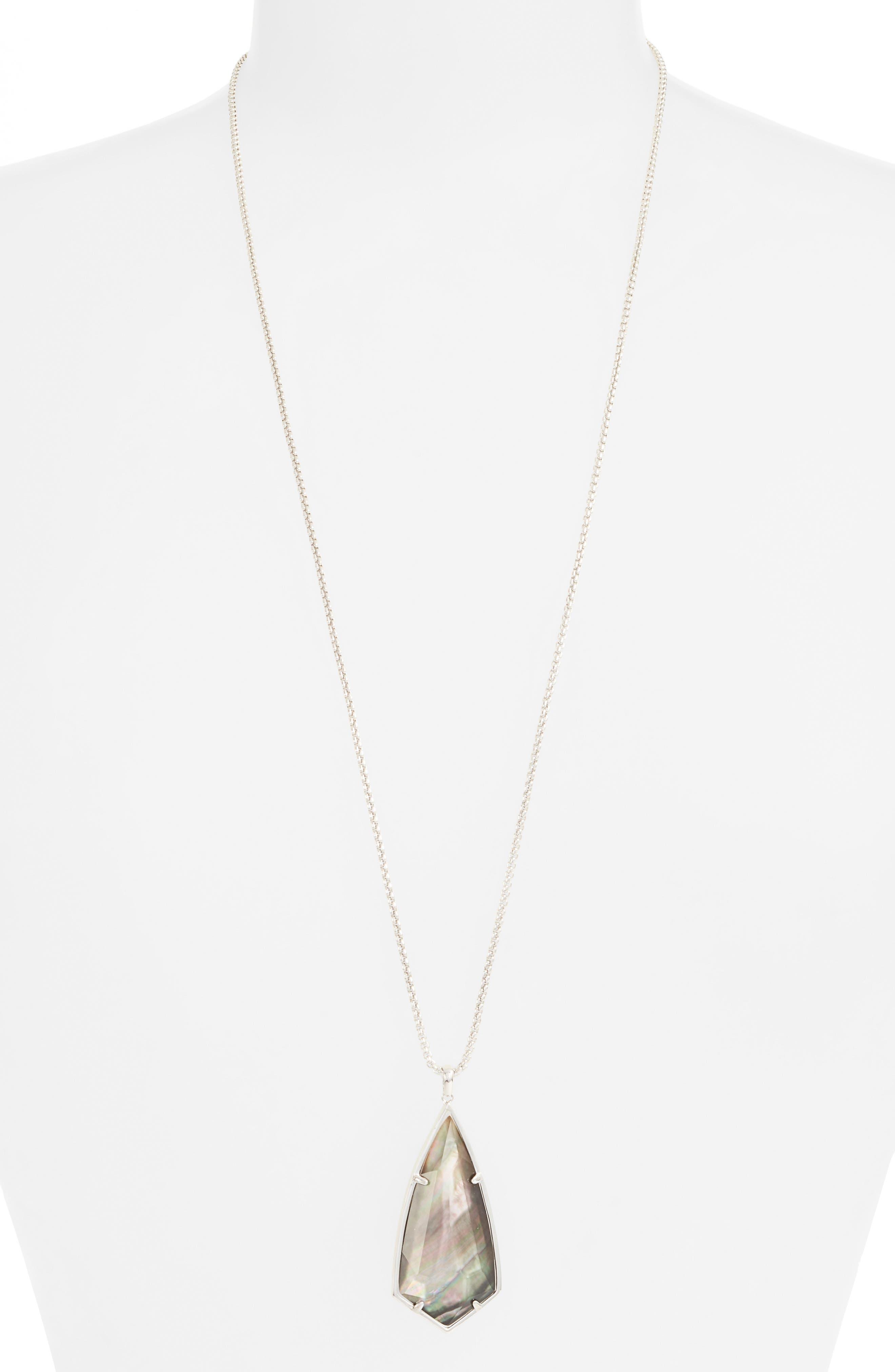 'Carole' Long Semiprecious Stone Pendant Necklace,                             Main thumbnail 5, color,