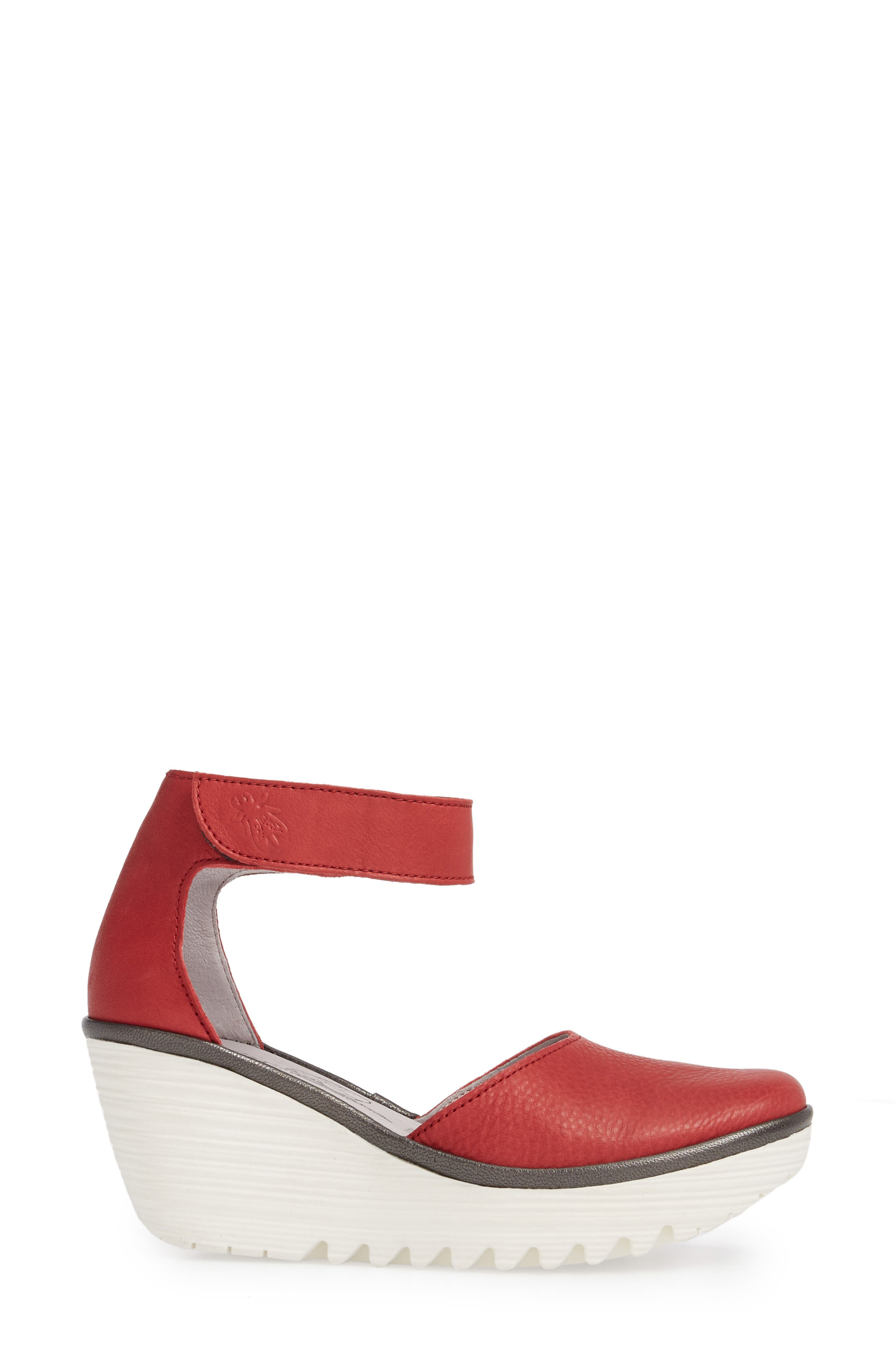 Yand Wedge Pump,                             Alternate thumbnail 3, color,                             RED/ OFF WHITE BRITO LEATHER