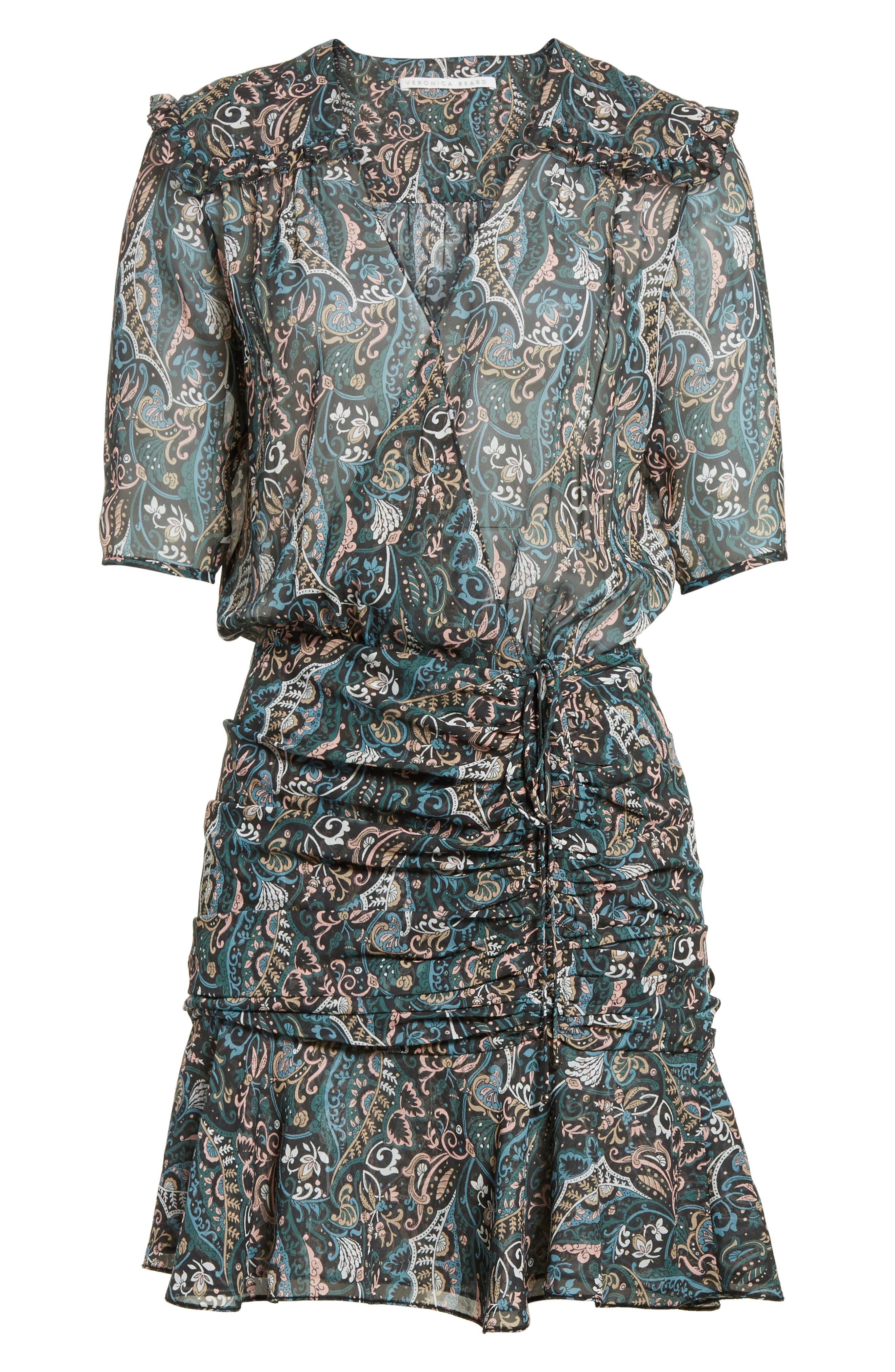 Retro Paisley Print Flounce Silk Dress,                             Alternate thumbnail 6, color,