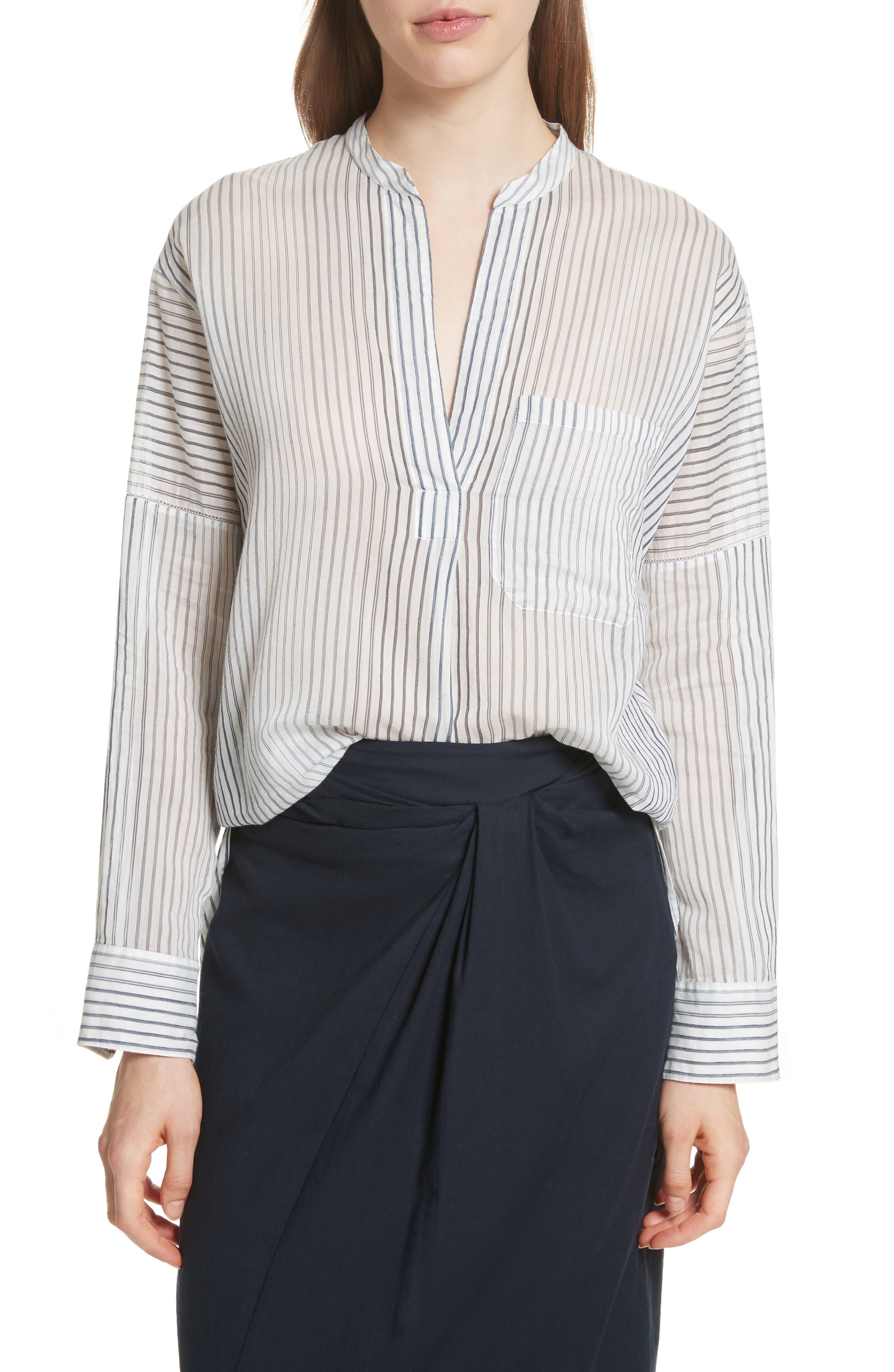 Pencil Stripe Cotton & Silk Tunic,                             Main thumbnail 1, color,                             403