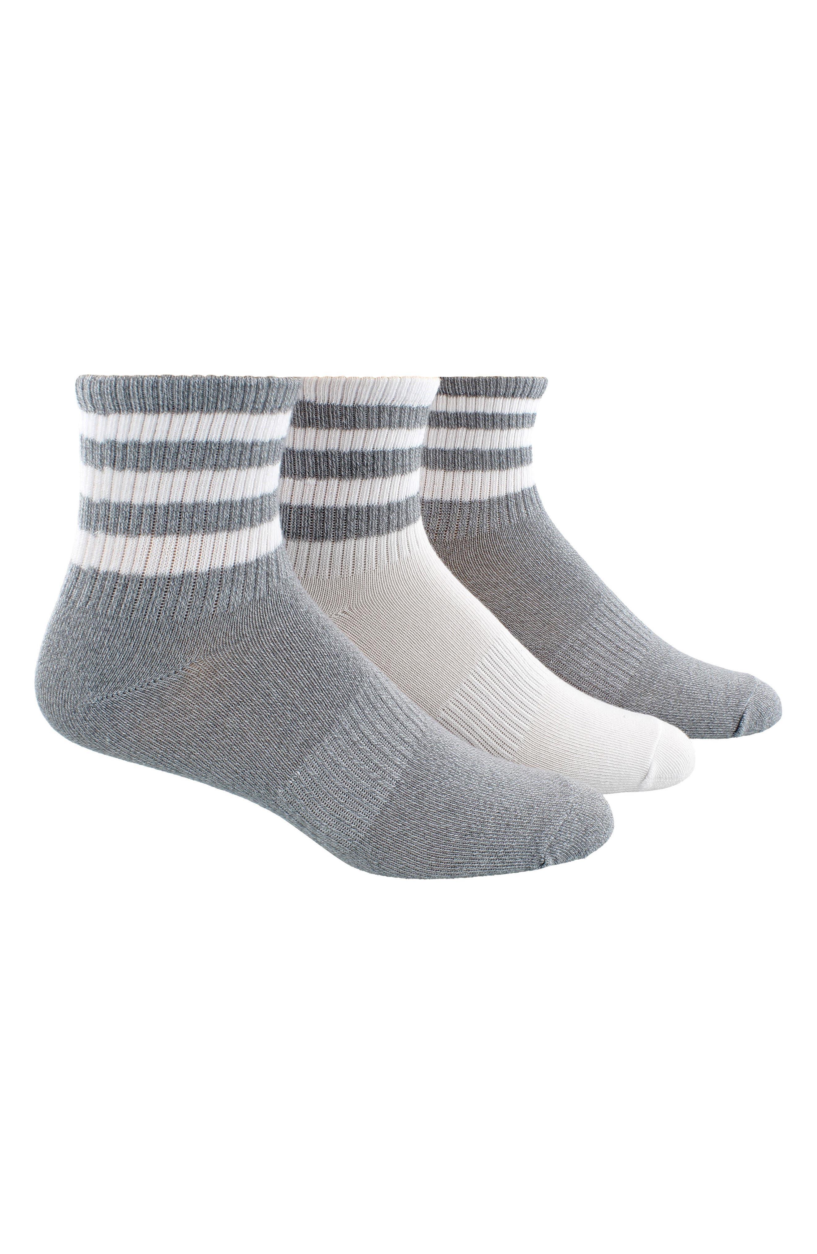 3-Pack 3-Stripe Ankle Socks,                             Main thumbnail 1, color,
