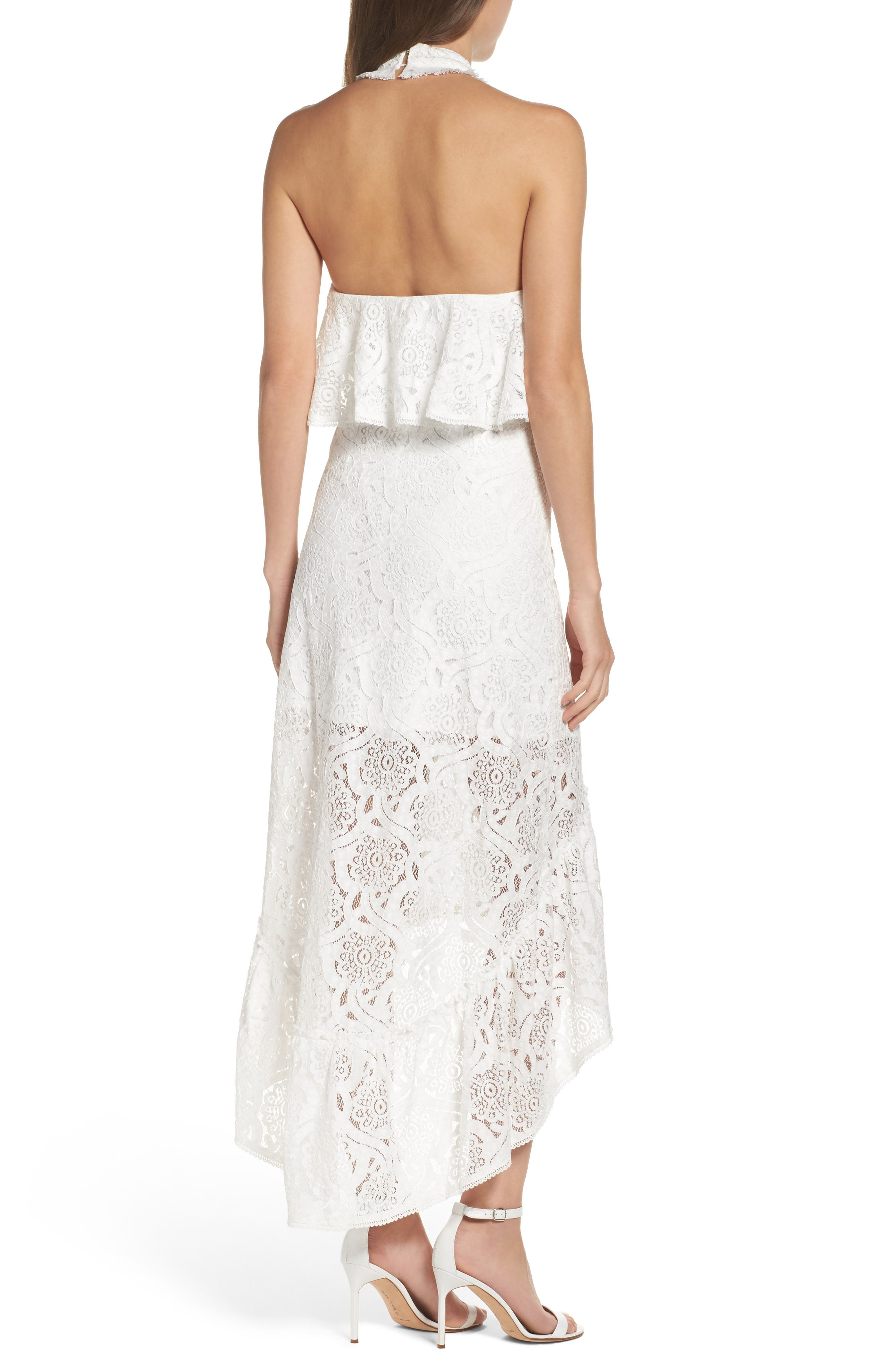 Lace Halter High/Low Gown,                             Alternate thumbnail 2, color,                             100