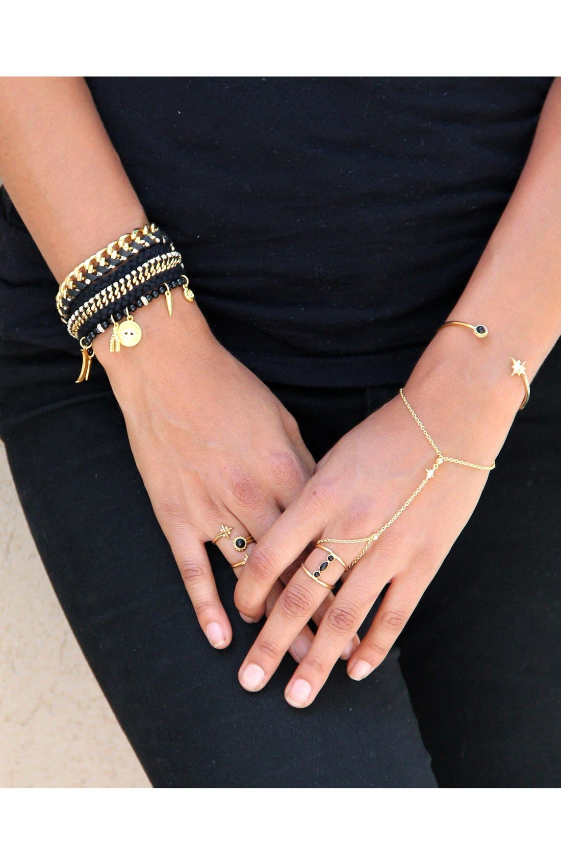 Onyx Beaded Charm Bracelet,                             Alternate thumbnail 2, color,                             710