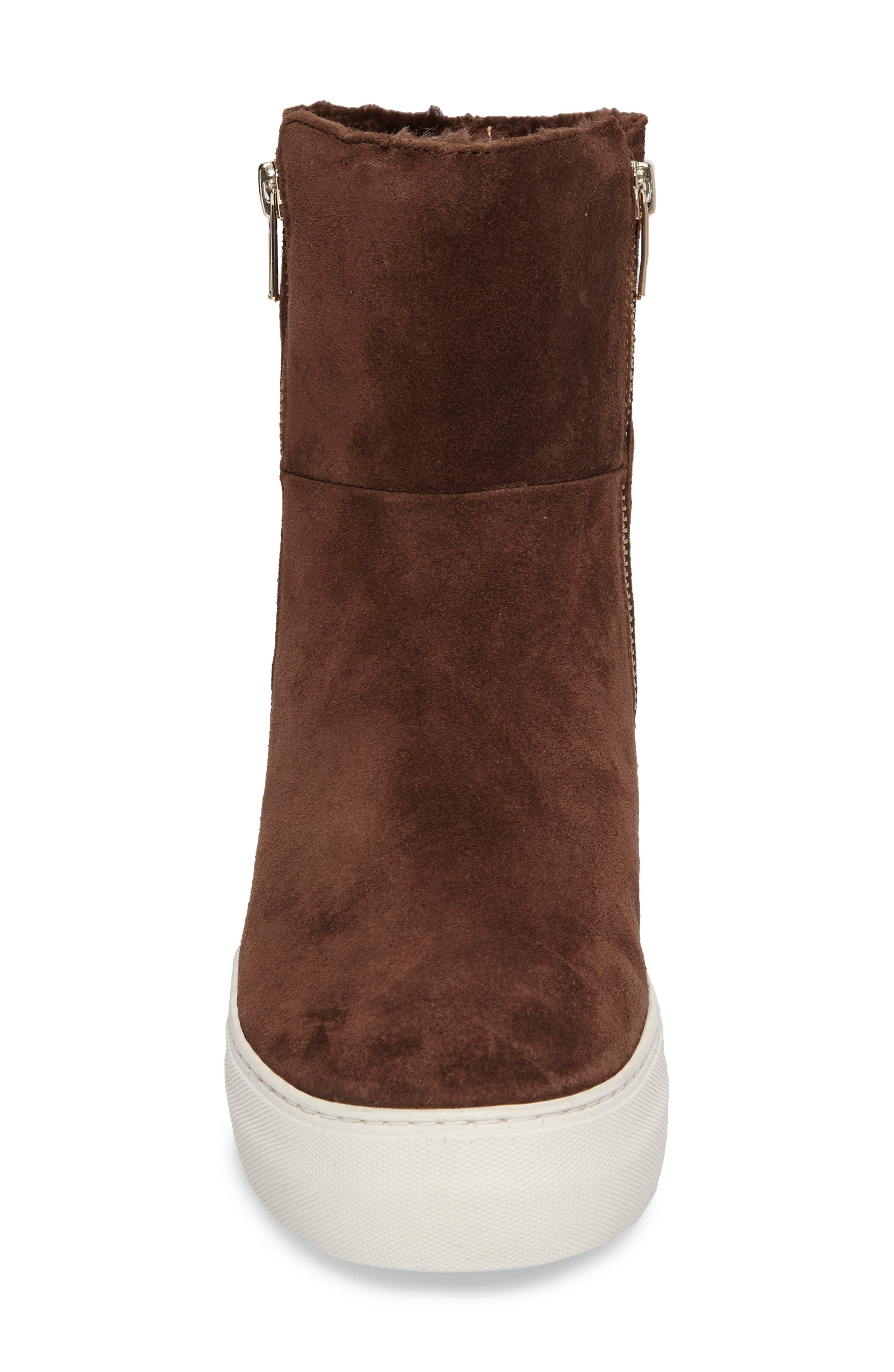 Allie Faux Fur Lined Platform Boot,                             Alternate thumbnail 4, color,                             BROWN SUEDE