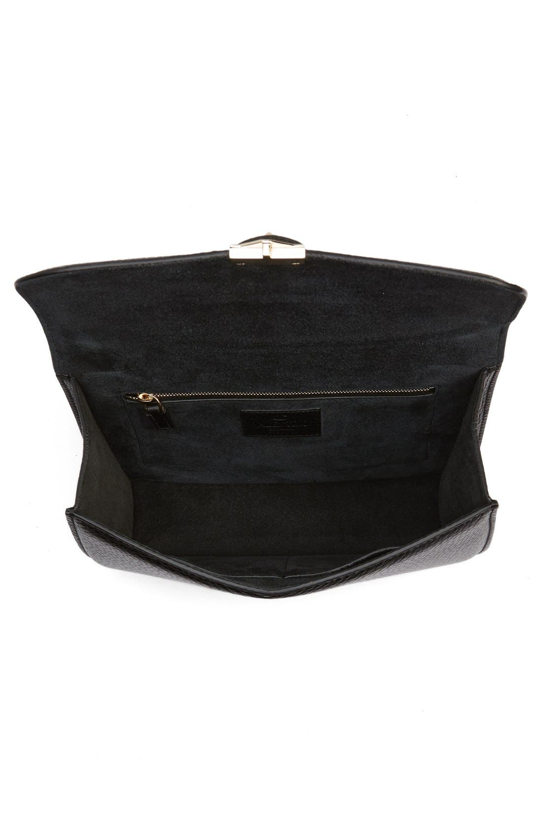 Medium Lock Studded Leather Shoulder Bag,                             Alternate thumbnail 2, color,                             NERO