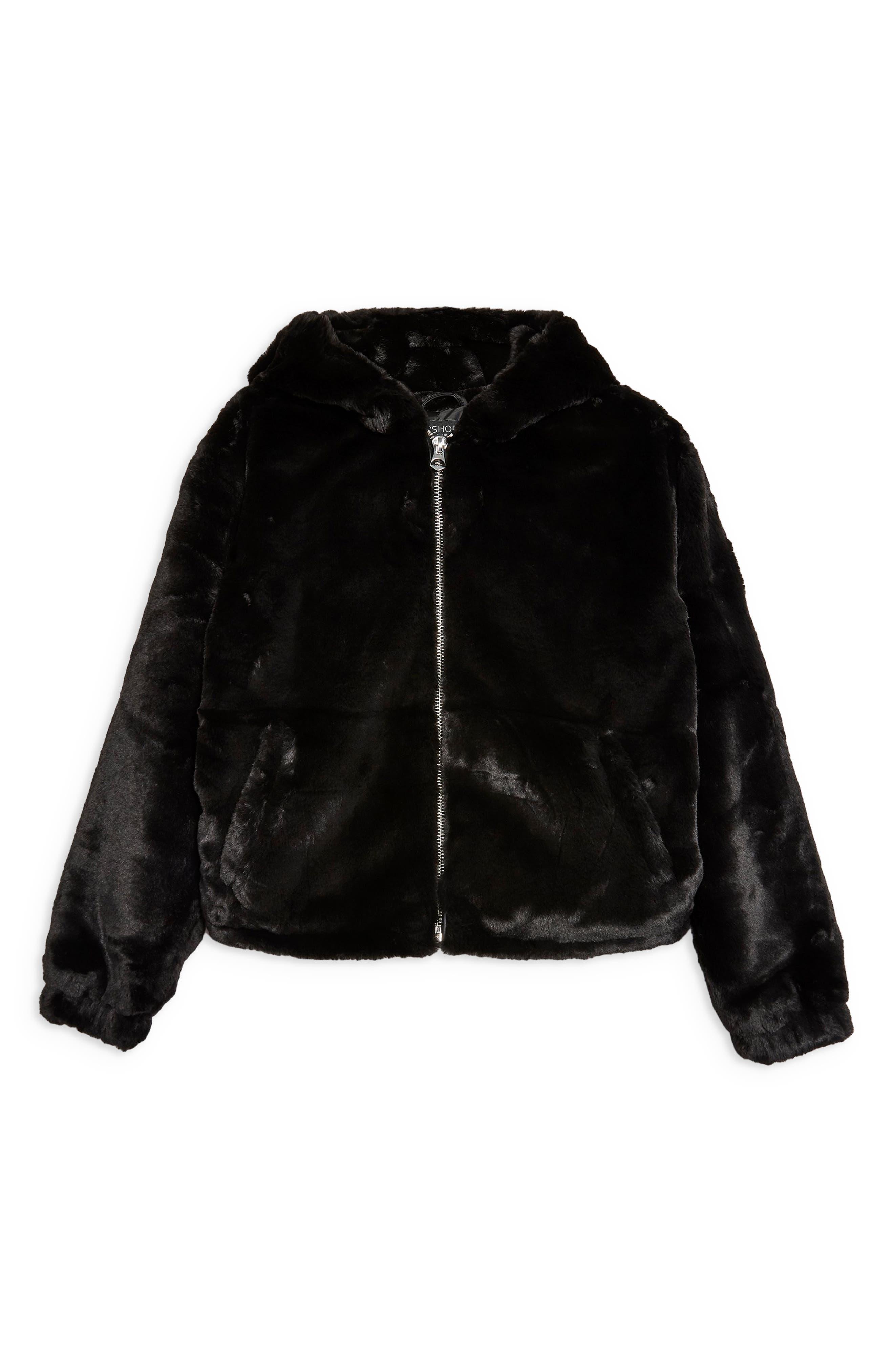 Faux Fur Zip Hoodie,                             Alternate thumbnail 4, color,                             BLACK