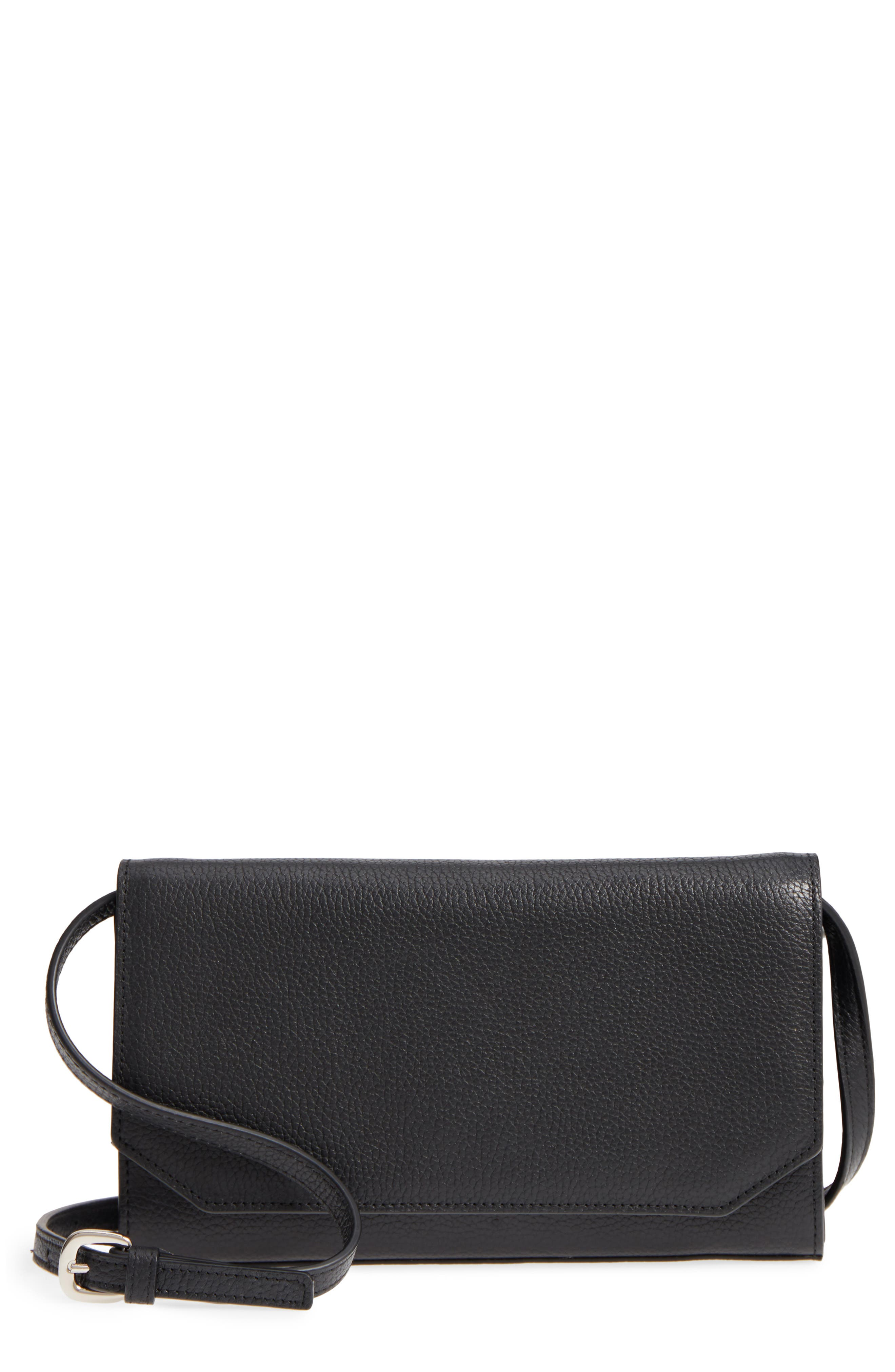 Leather Wallet on a Chain,                             Main thumbnail 1, color,                             BLACK