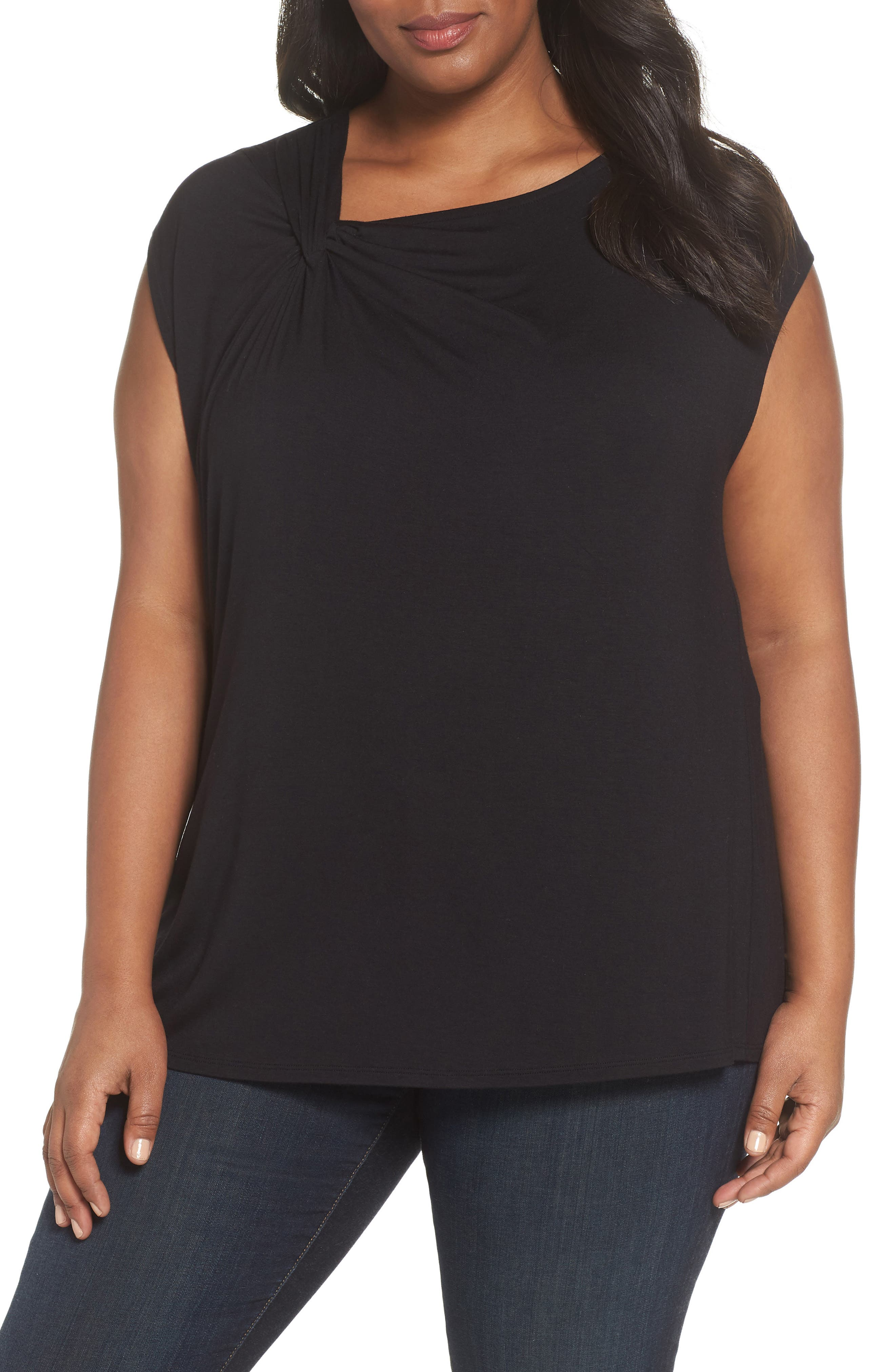 Twisted Neck Cap Sleeve Top,                         Main,                         color, BLACK