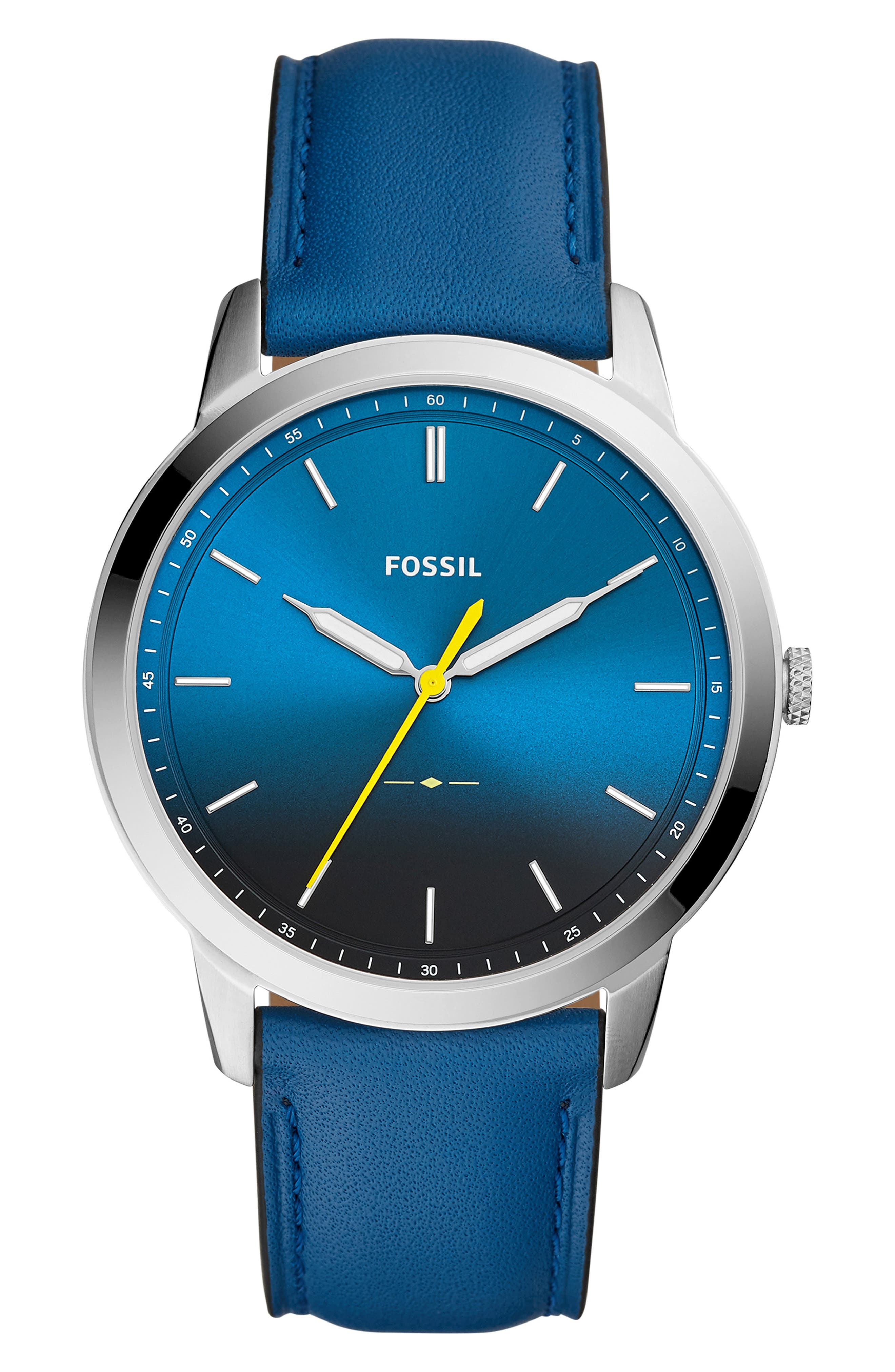 Minimalist Leather Strap Watch, 44mm,                             Main thumbnail 4, color,