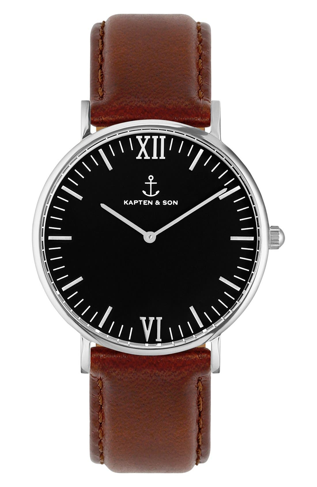 Campina Leather Strap Watch, 36mm,                         Main,                         color, BROWN/ BLACK/ SILVER