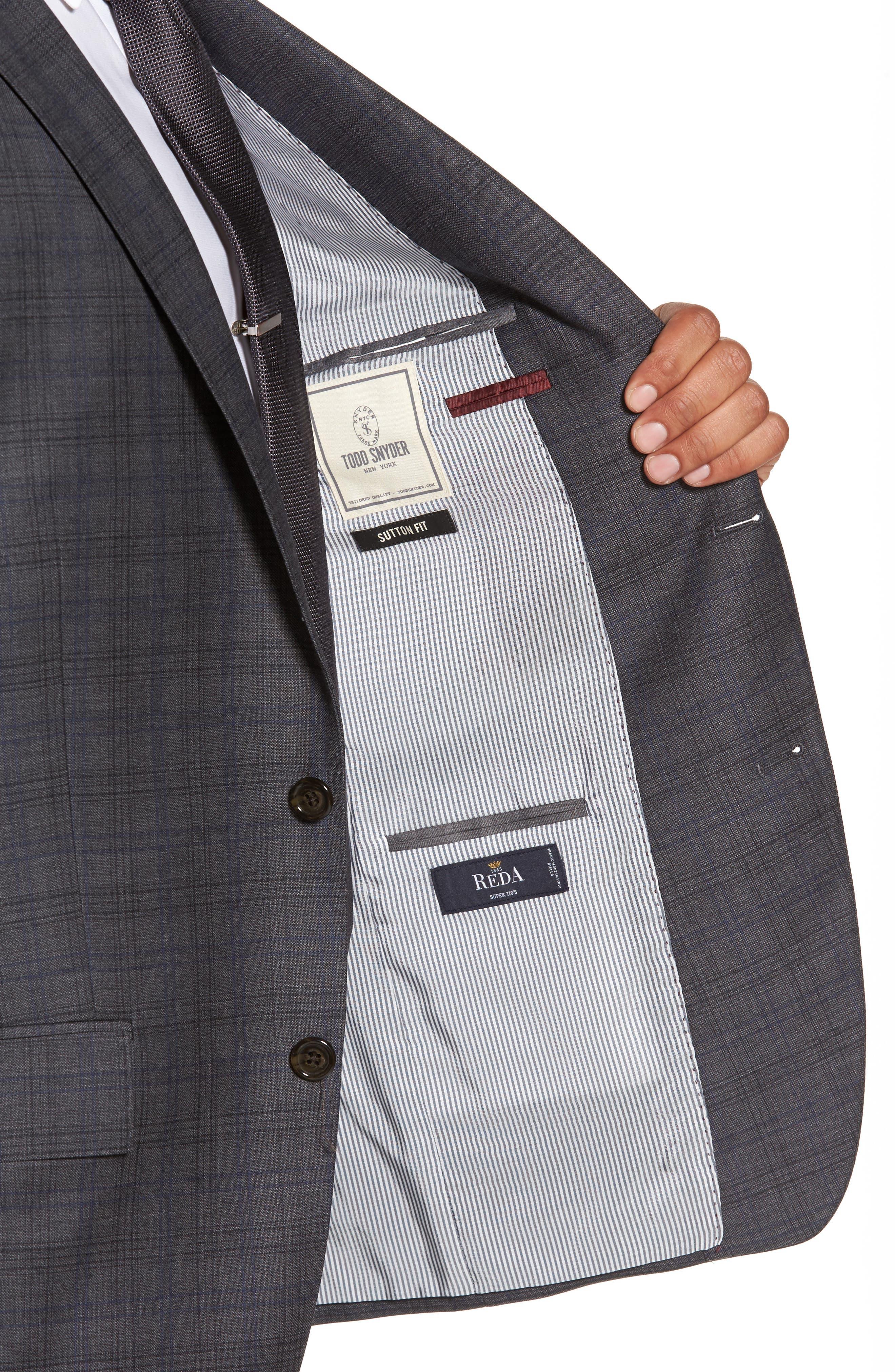 Sutton Trim Fit Plaid Wool Sport Coat,                             Alternate thumbnail 4, color,                             030