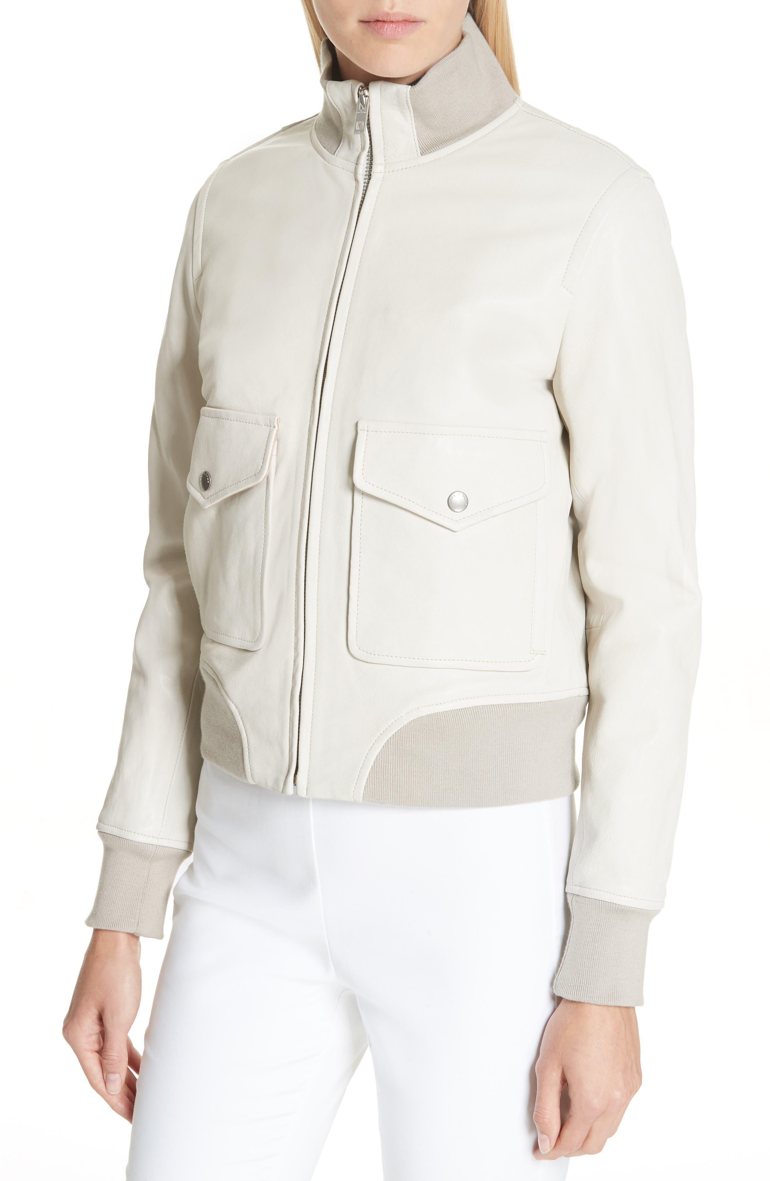 Mila Lambskin Leather Jacket,                             Alternate thumbnail 4, color,                             IVORY