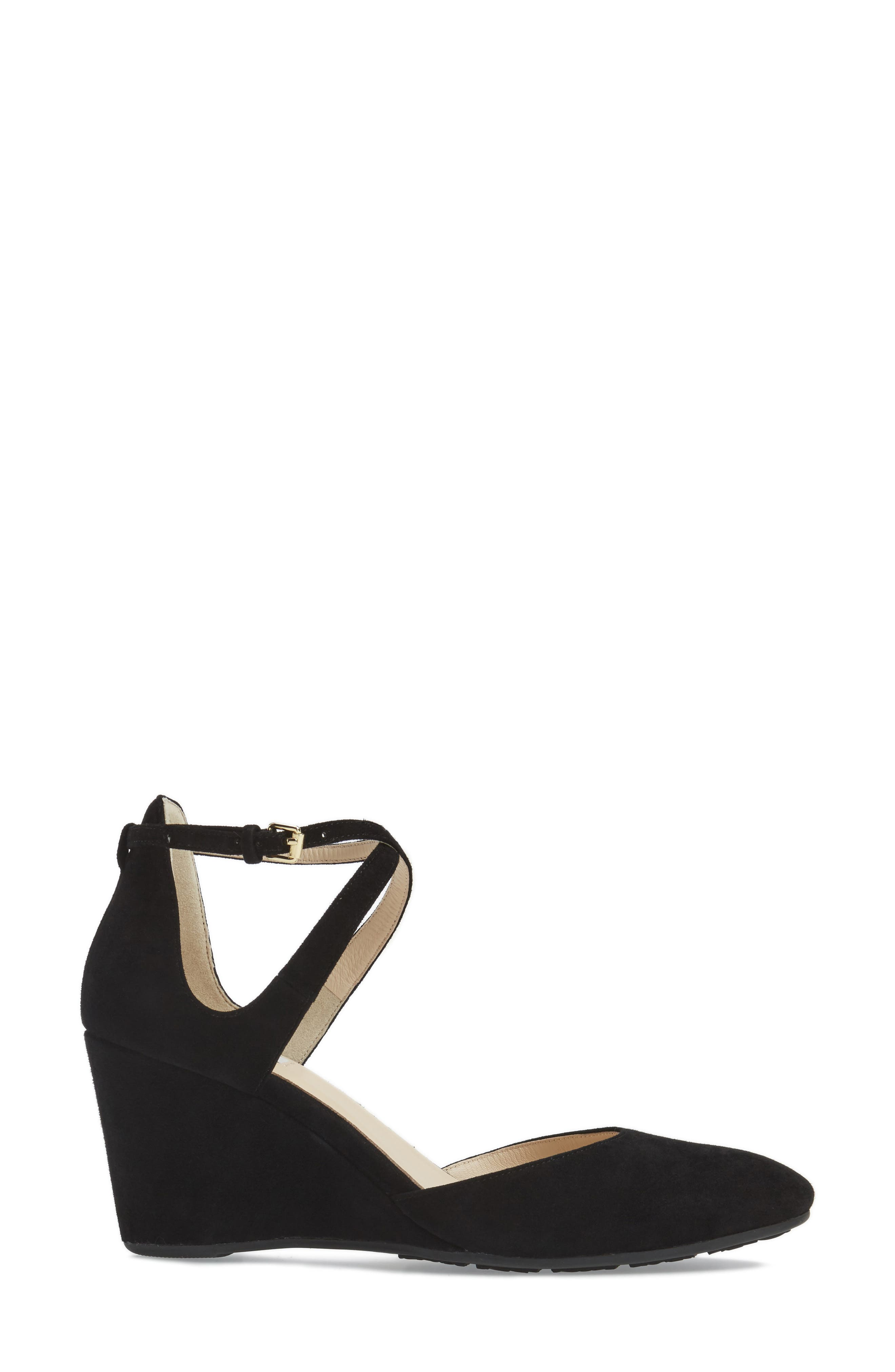 Lacey Ankle Strap Wedge Pump,                             Alternate thumbnail 3, color,                             001