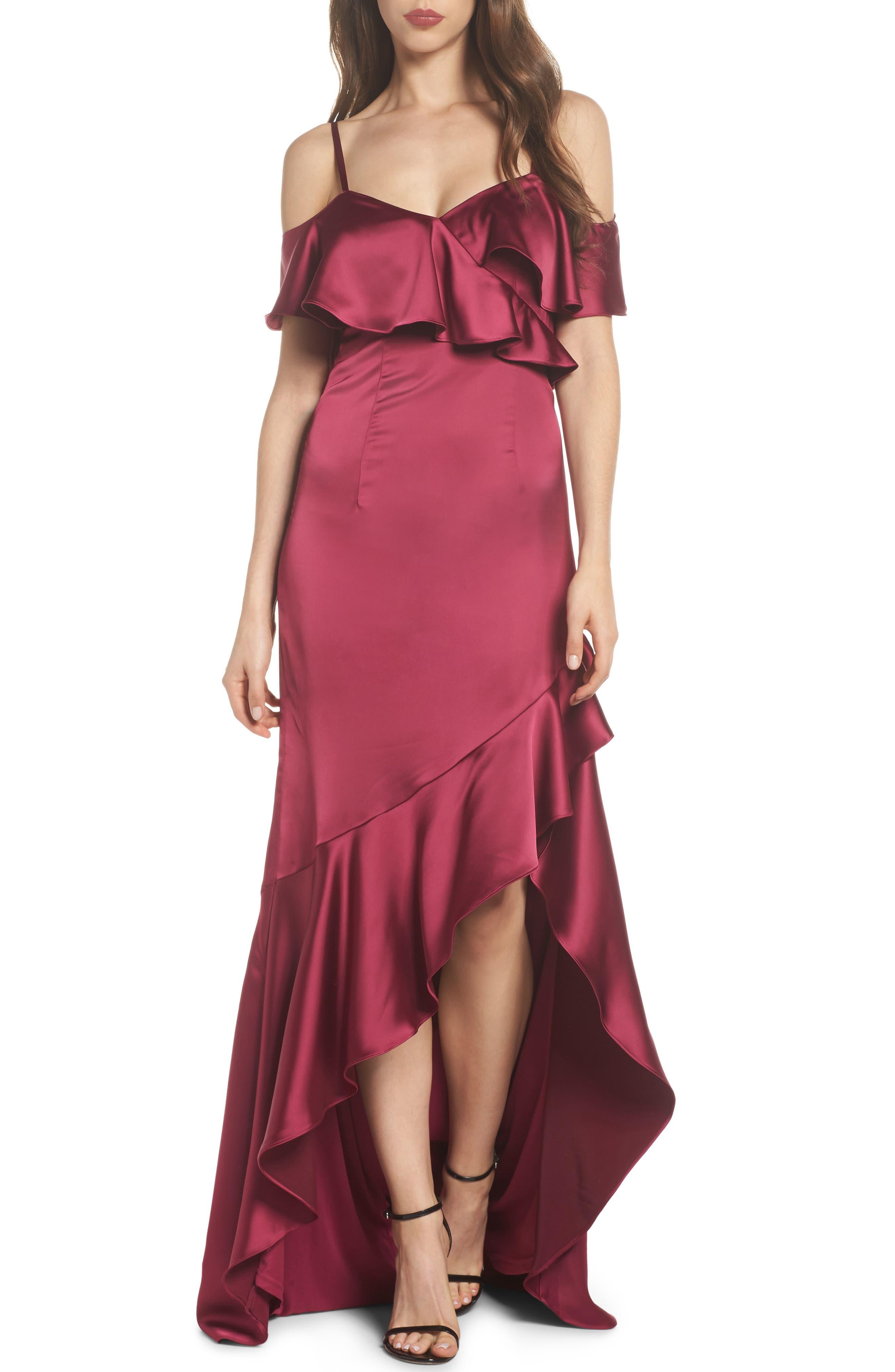Ruffled Satin Gown,                             Main thumbnail 1, color,