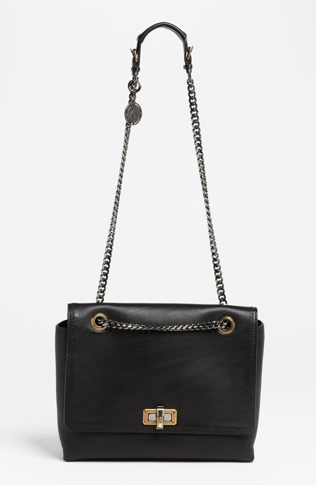 LANVIN,                             'Happy - Medium' Leather Flap Shoulder Bag,                             Main thumbnail 1, color,                             001