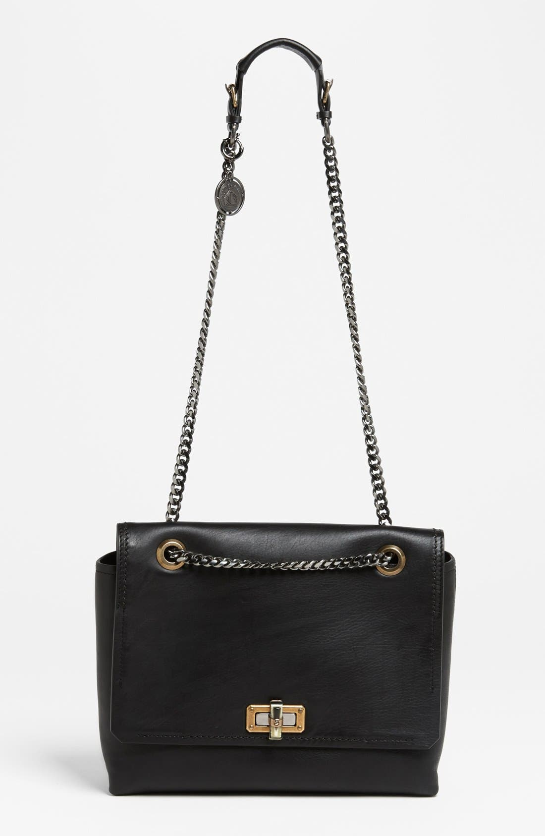 LANVIN 'Happy - Medium' Leather Flap Shoulder Bag, Main, color, 001