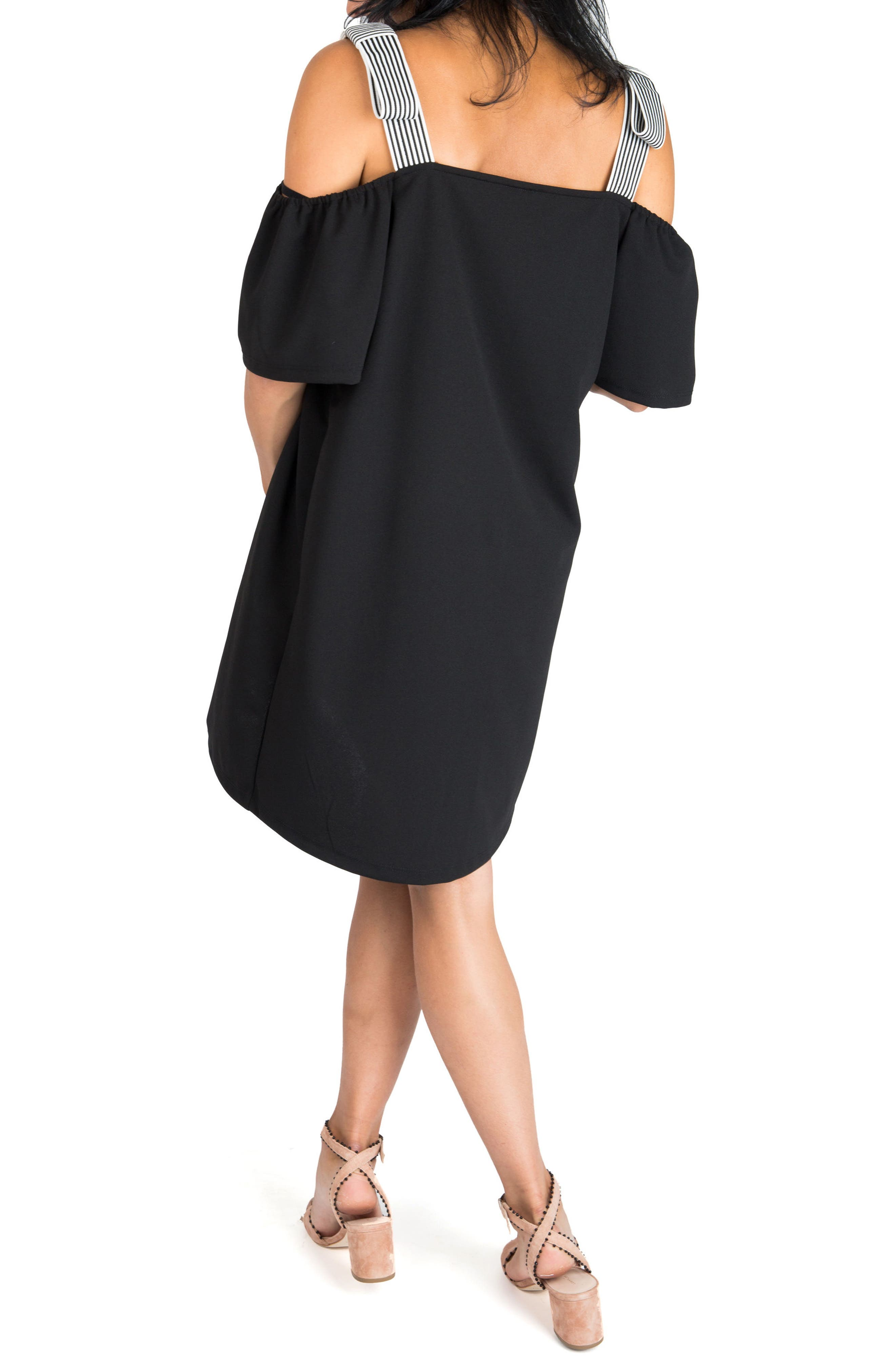 NOM MATERNITY,                             Millie Off the Shoulder Maternity Dress,                             Alternate thumbnail 2, color,                             BLACK