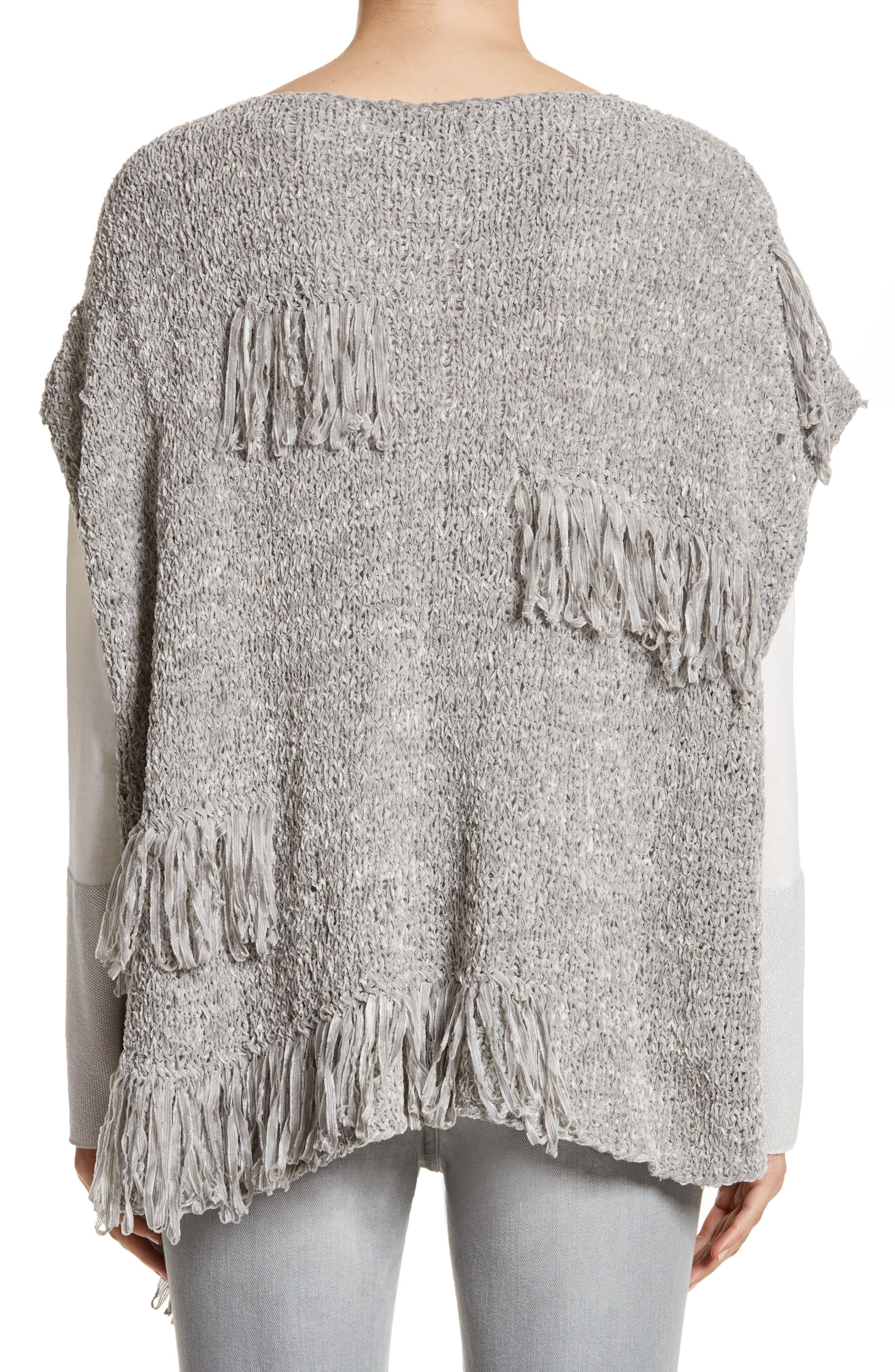 Fringe Chenille Knit Poncho Sweater,                             Alternate thumbnail 2, color,                             020