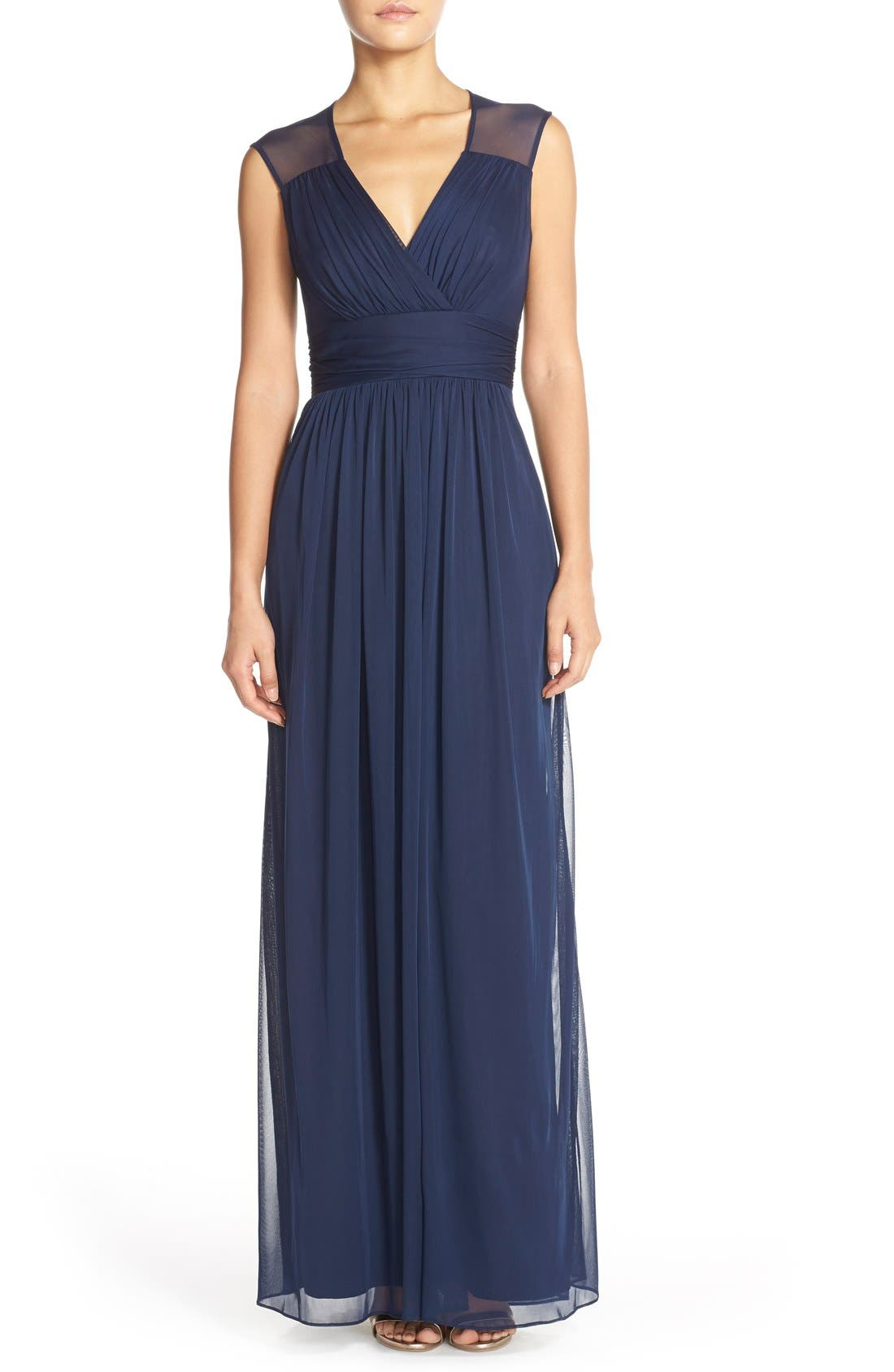 ALFRED SUNG,                             Shirred Chiffon Cap Sleeve Gown,                             Main thumbnail 1, color,                             MIDNIGHT