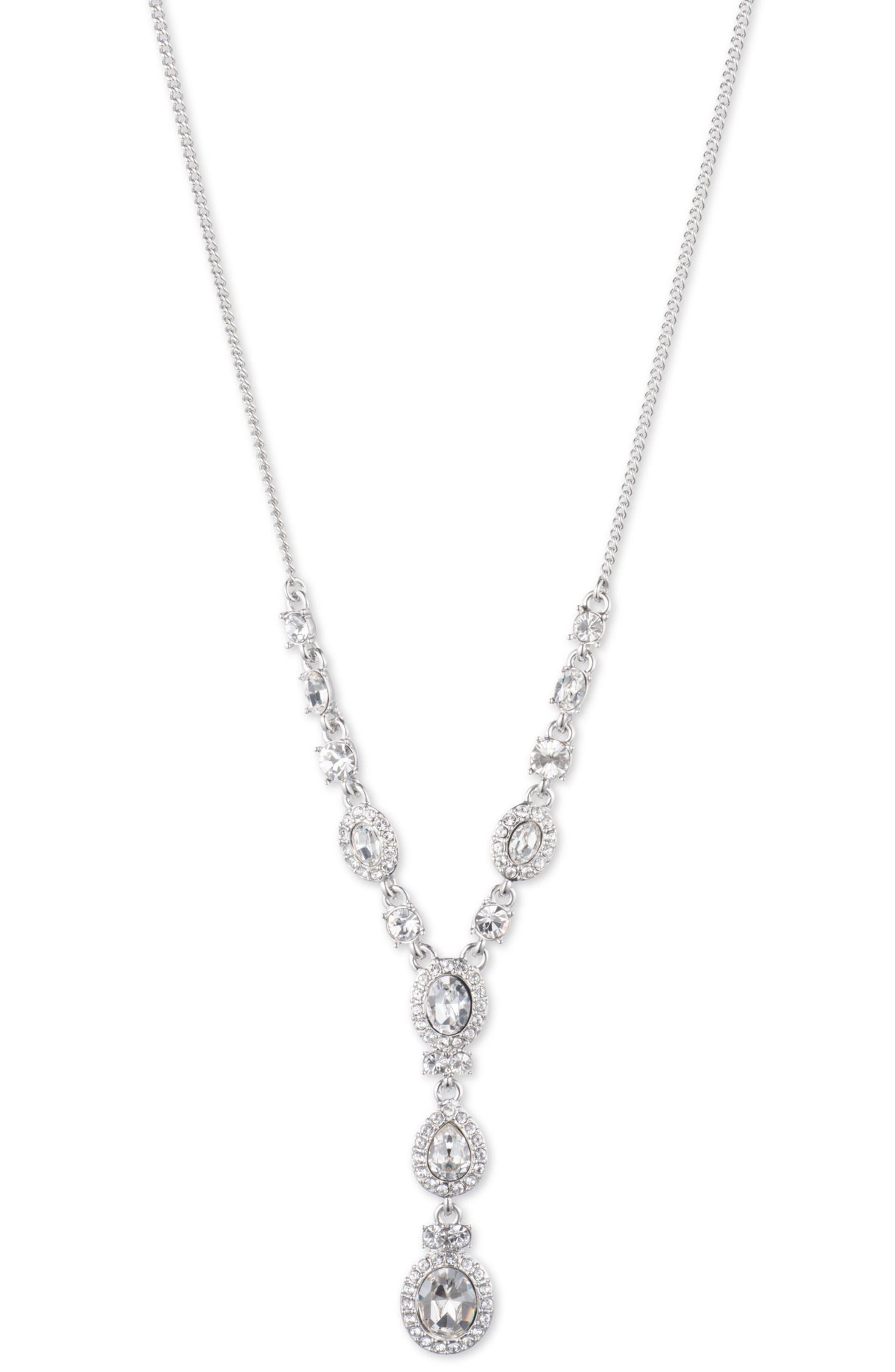 Crystal Y-Necklace,                         Main,                         color, SILVER