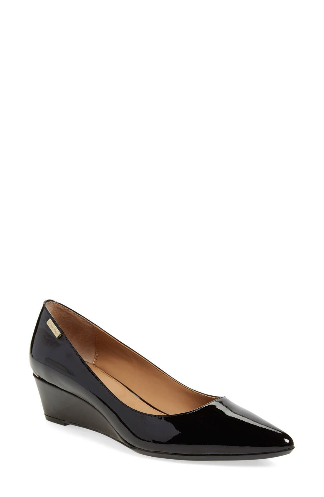 CALVIN KLEIN,                             'Germina' Pointy Toe Wedge,                             Main thumbnail 1, color,                             BLACK PATENT LEATHER