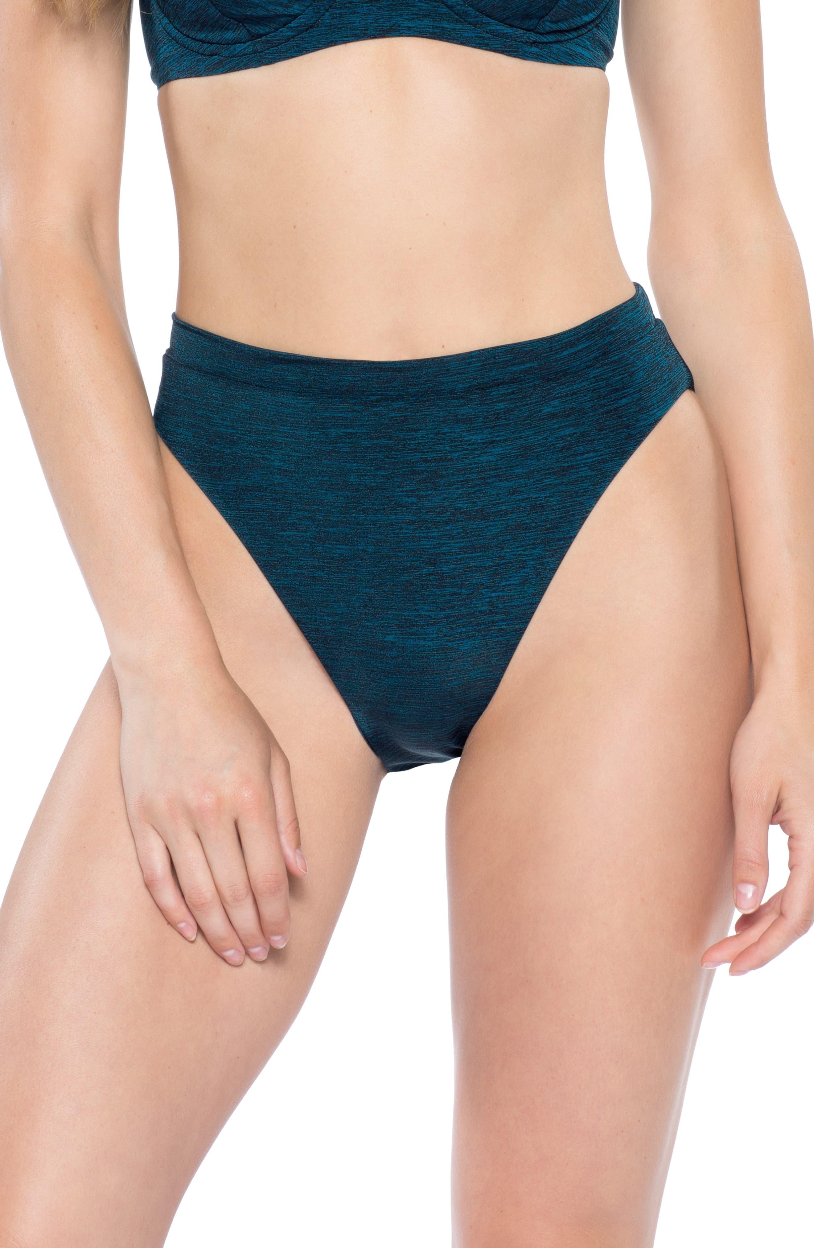 Becca Mesa Verde High Waist Bikini Bottoms, Blue/green