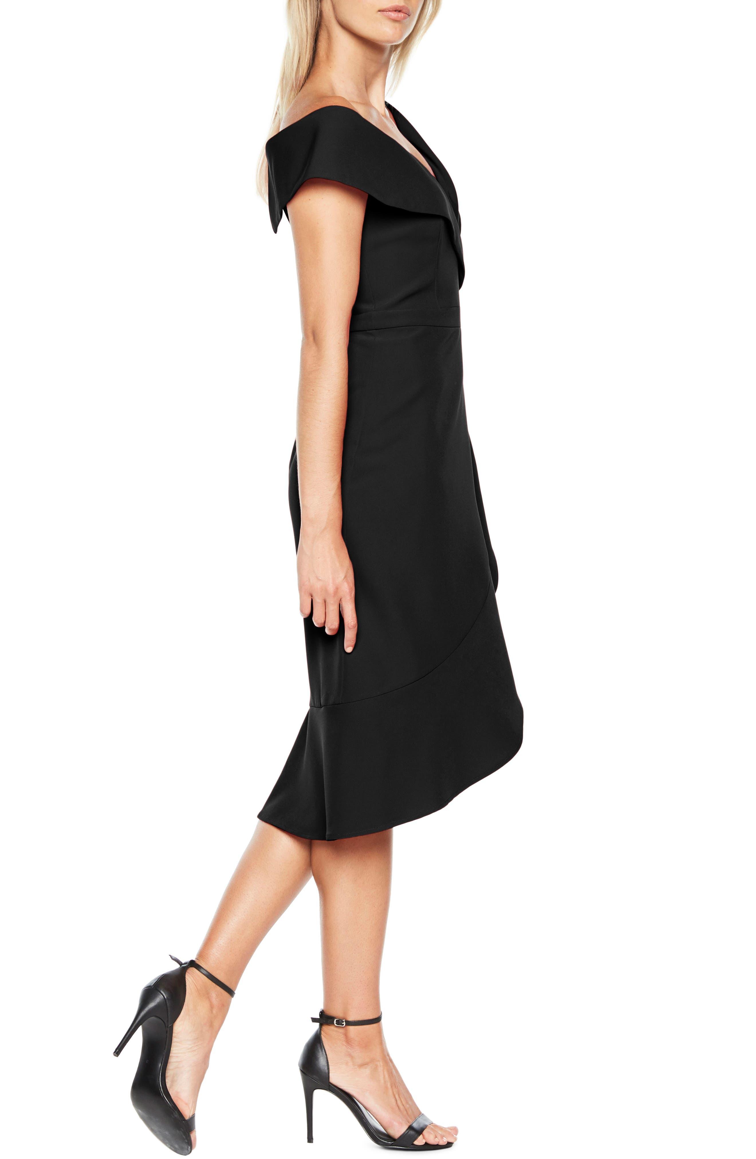 Bella Tulip Hem Dress,                             Alternate thumbnail 3, color,                             BLACK