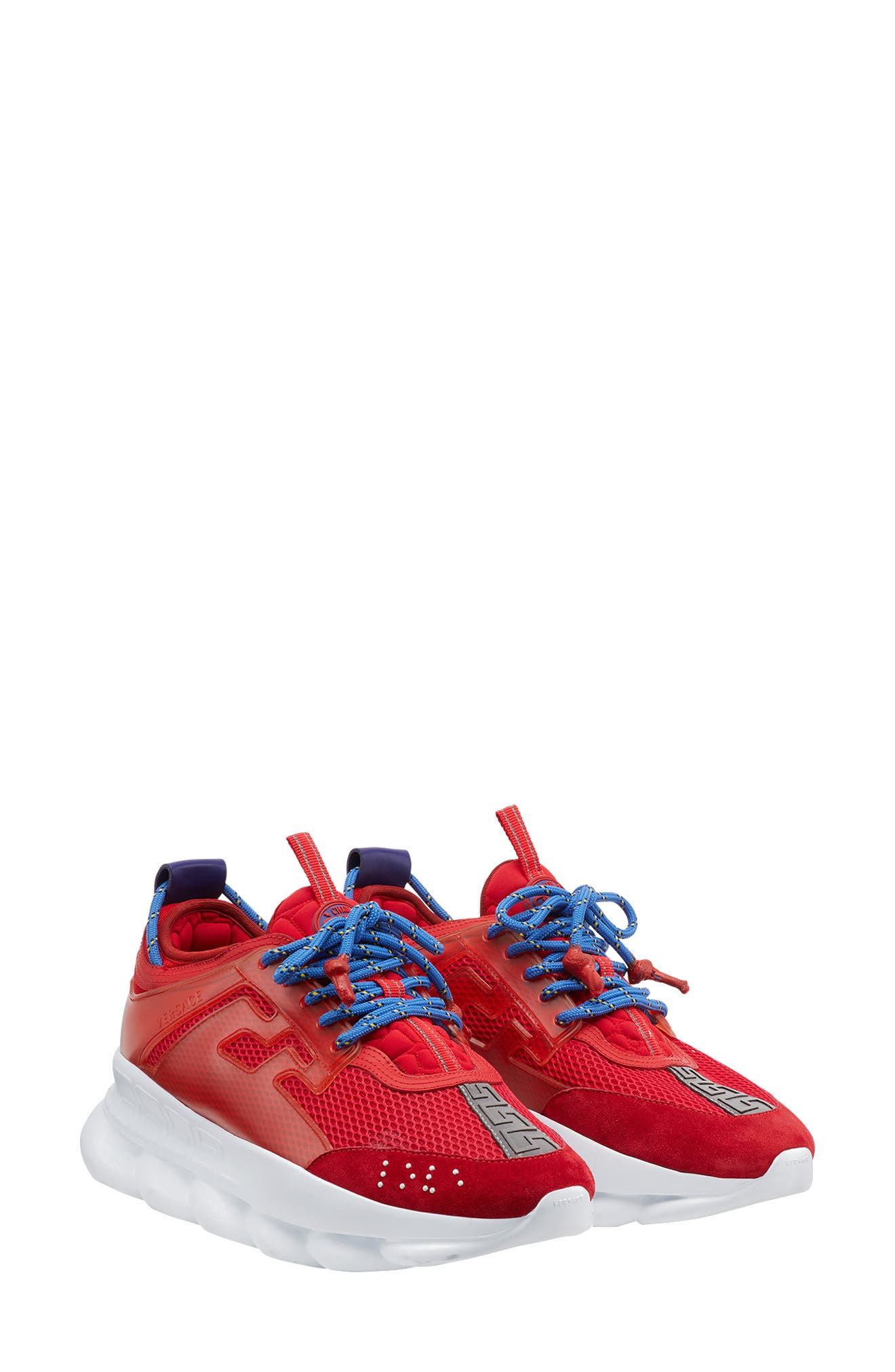 Versace Chain Reaction Sneaker,                             Main thumbnail 1, color,                             RED