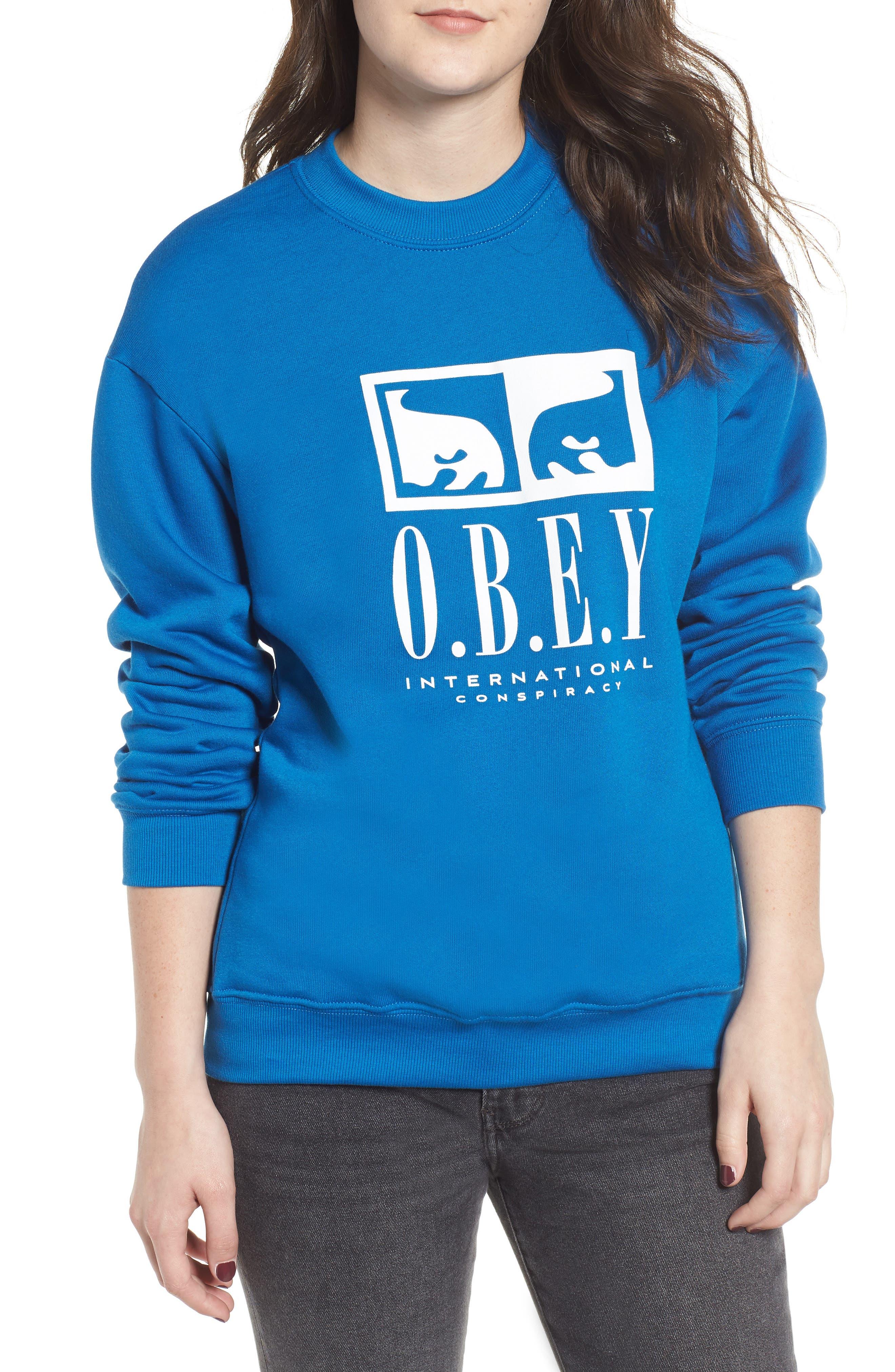 OBEY International Conspiracy Sweatshirt in Sapphire