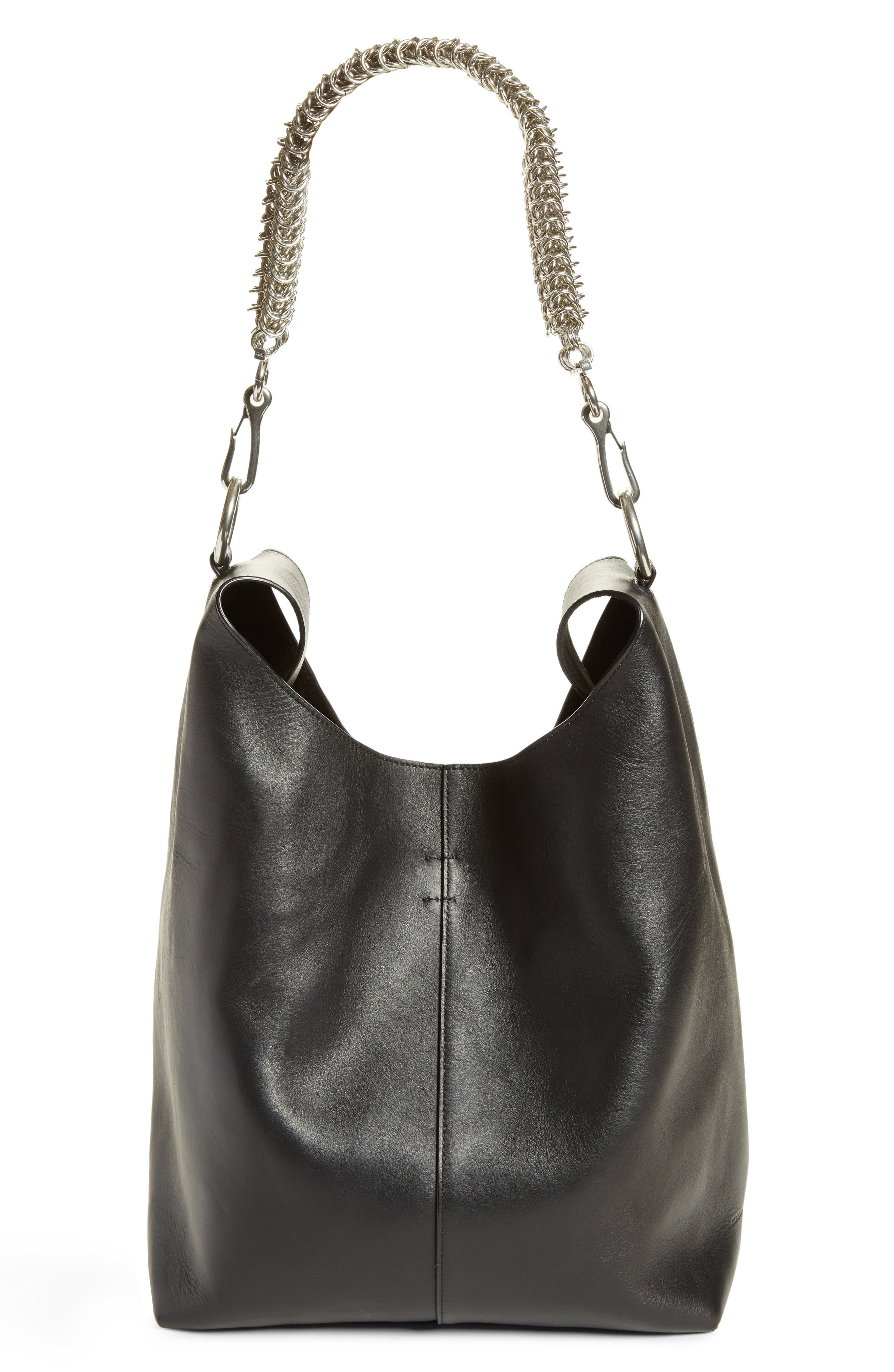 Genesis Box Chain Leather Hobo,                             Alternate thumbnail 7, color,                             BLACK
