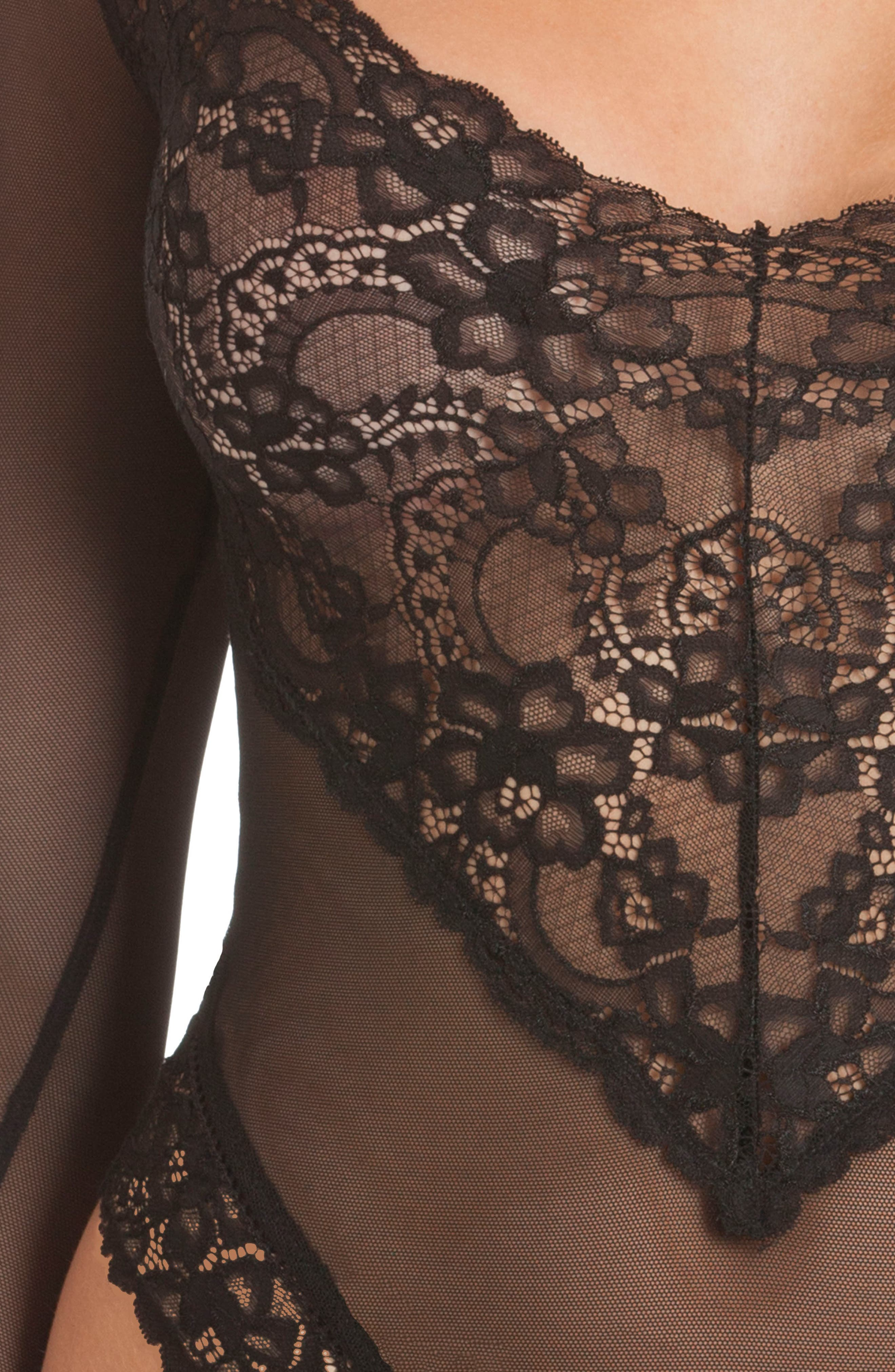 Mirage Long Sleeve Lace Teddy,                             Alternate thumbnail 4, color,                             001