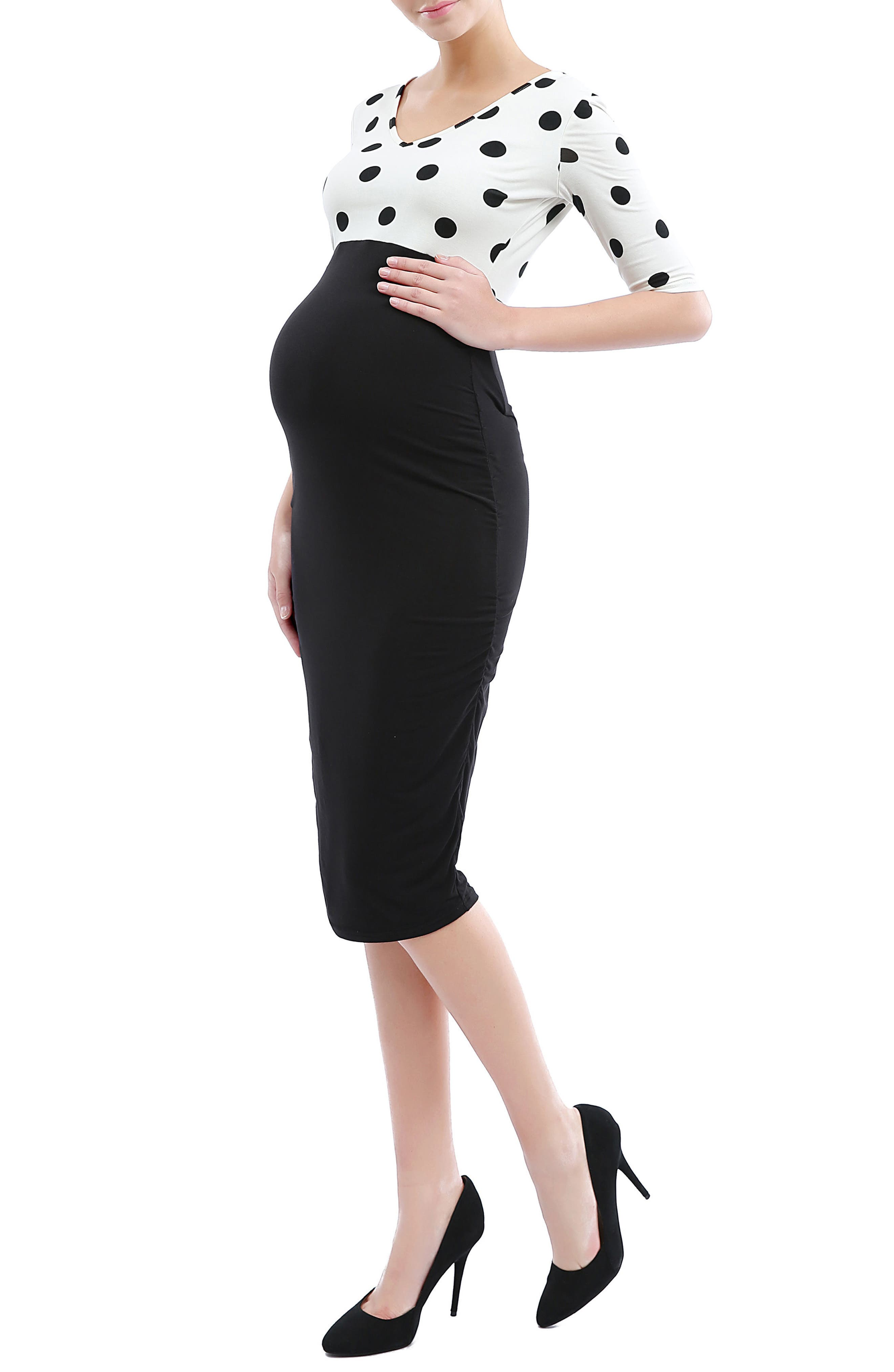 'Farrah' Maternity Body-Con Dress,                             Alternate thumbnail 3, color,                             001