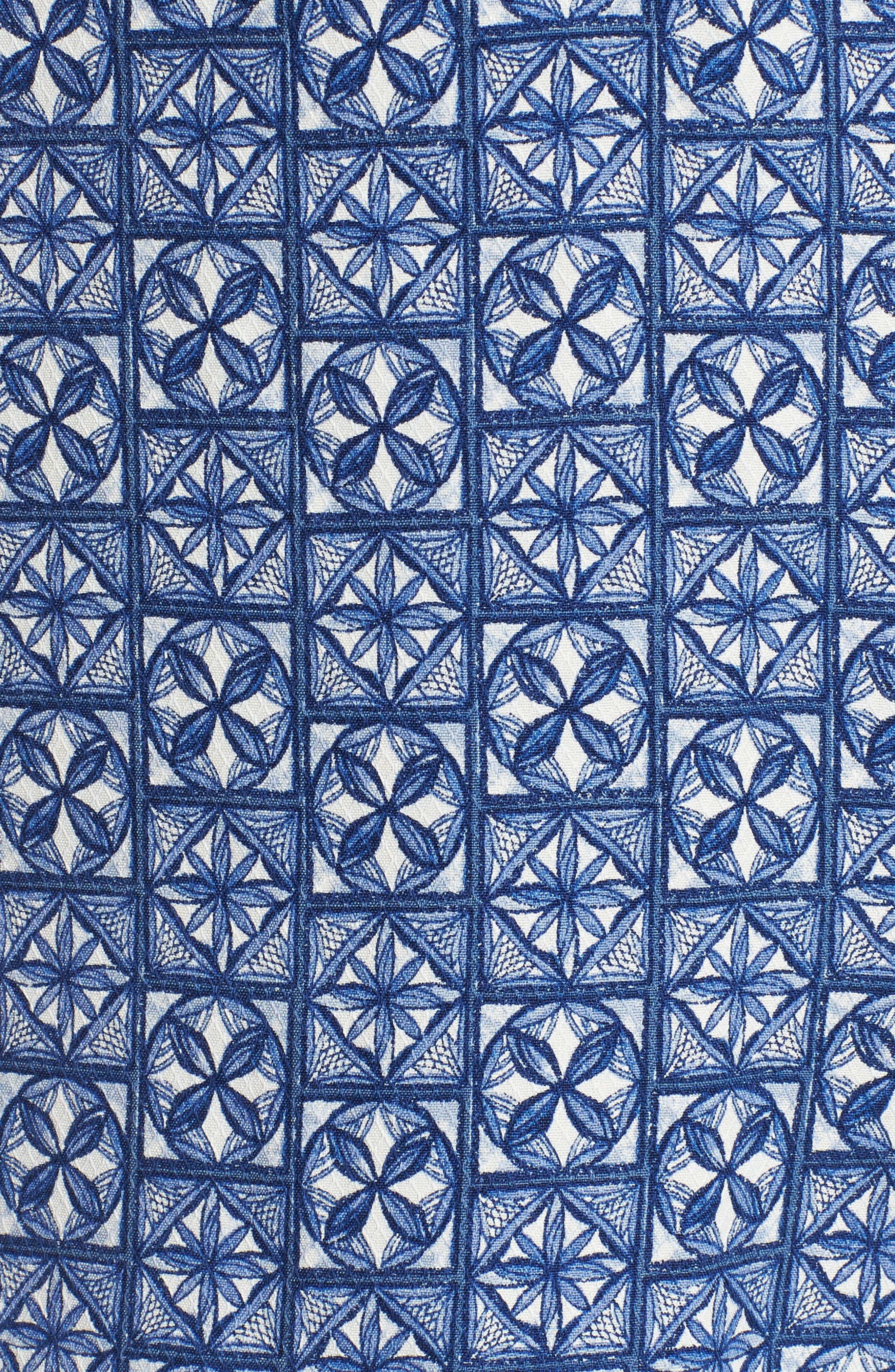Juno Beach Geo Print Silk Camp Shirt,                             Alternate thumbnail 5, color,                             400