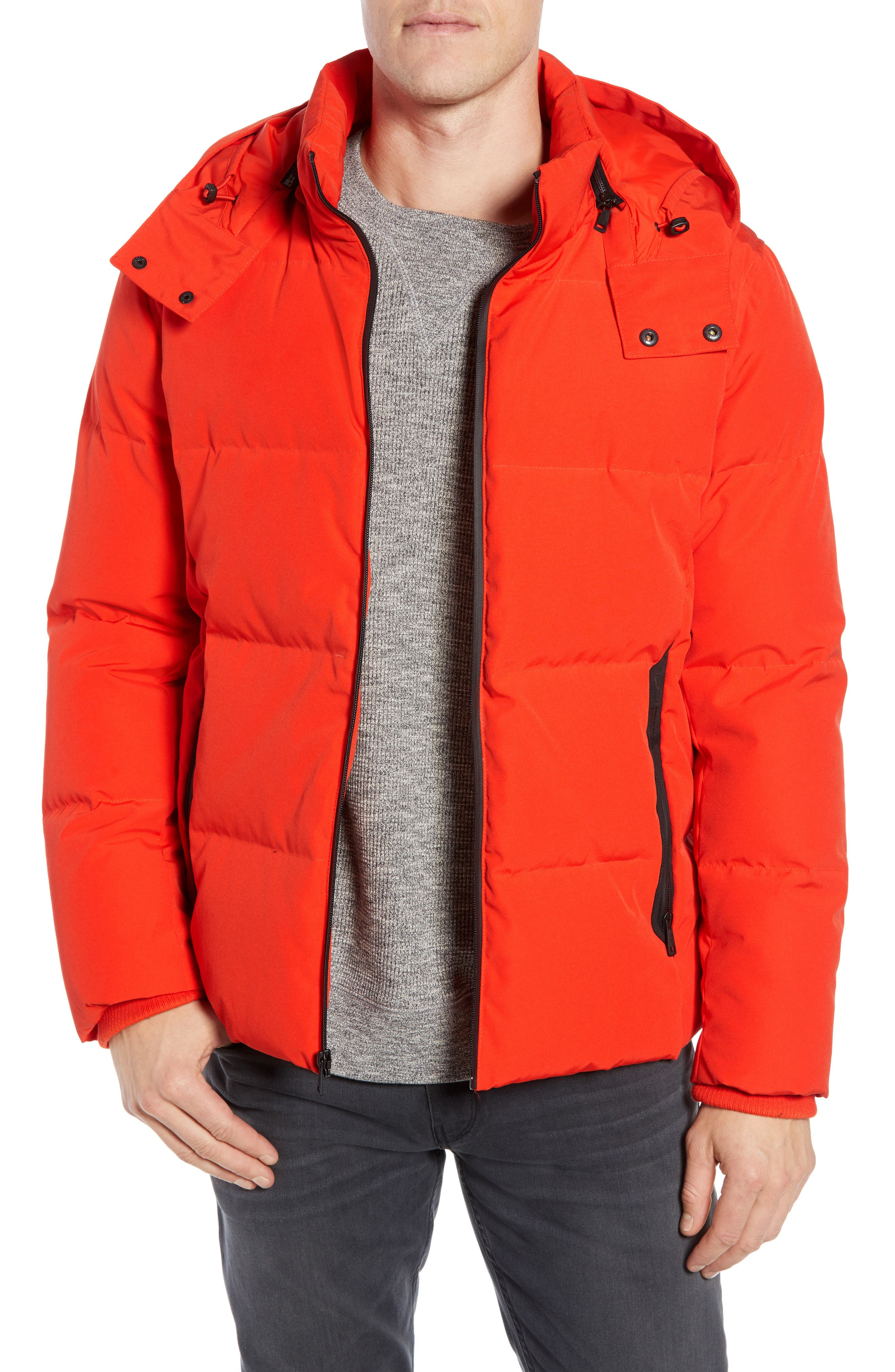 Cole Haan Signature Hooded Puffer Jacket, Orange