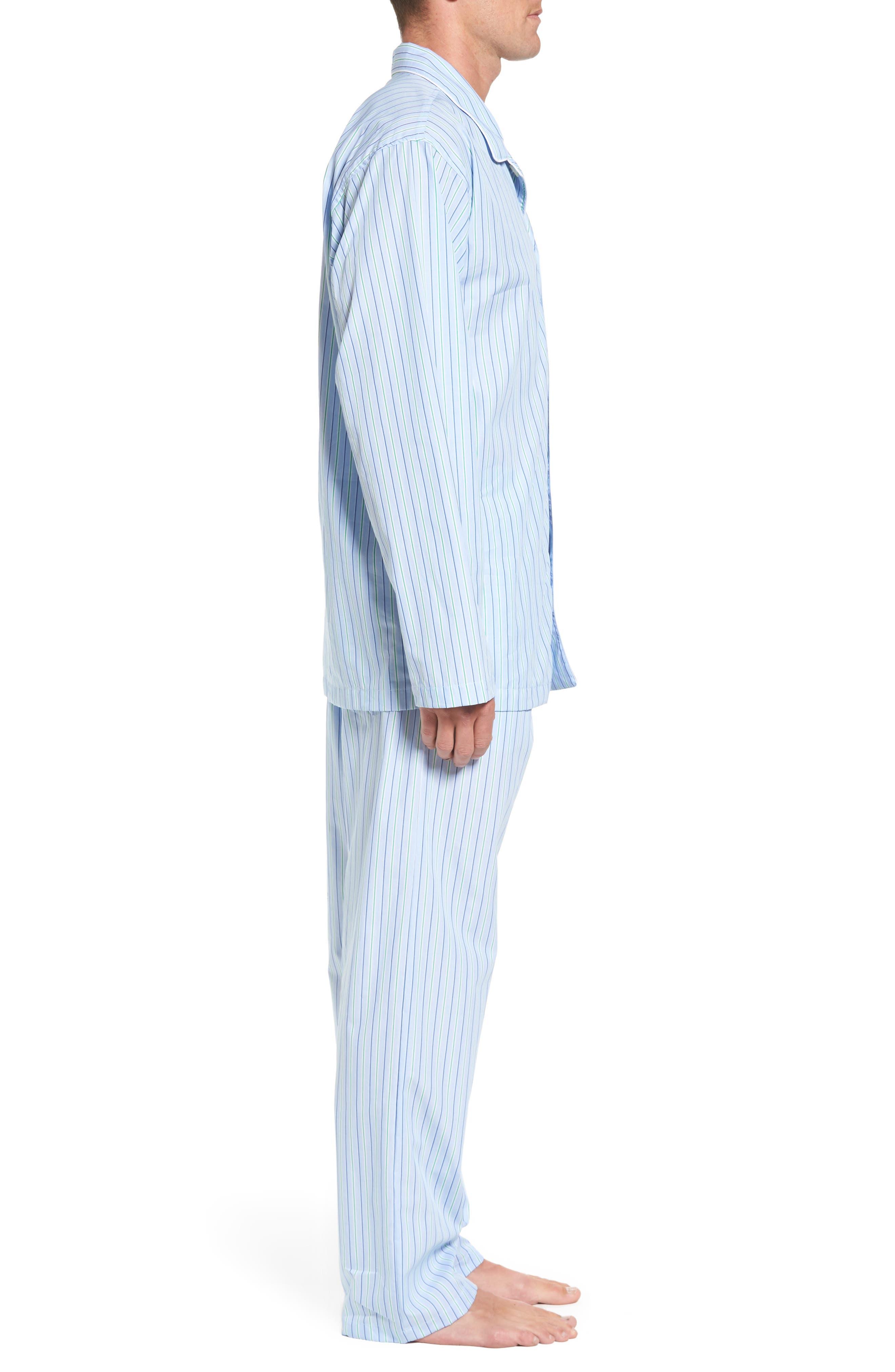 Cotton Pajama Top,                             Alternate thumbnail 3, color,                             BARI STRIPE