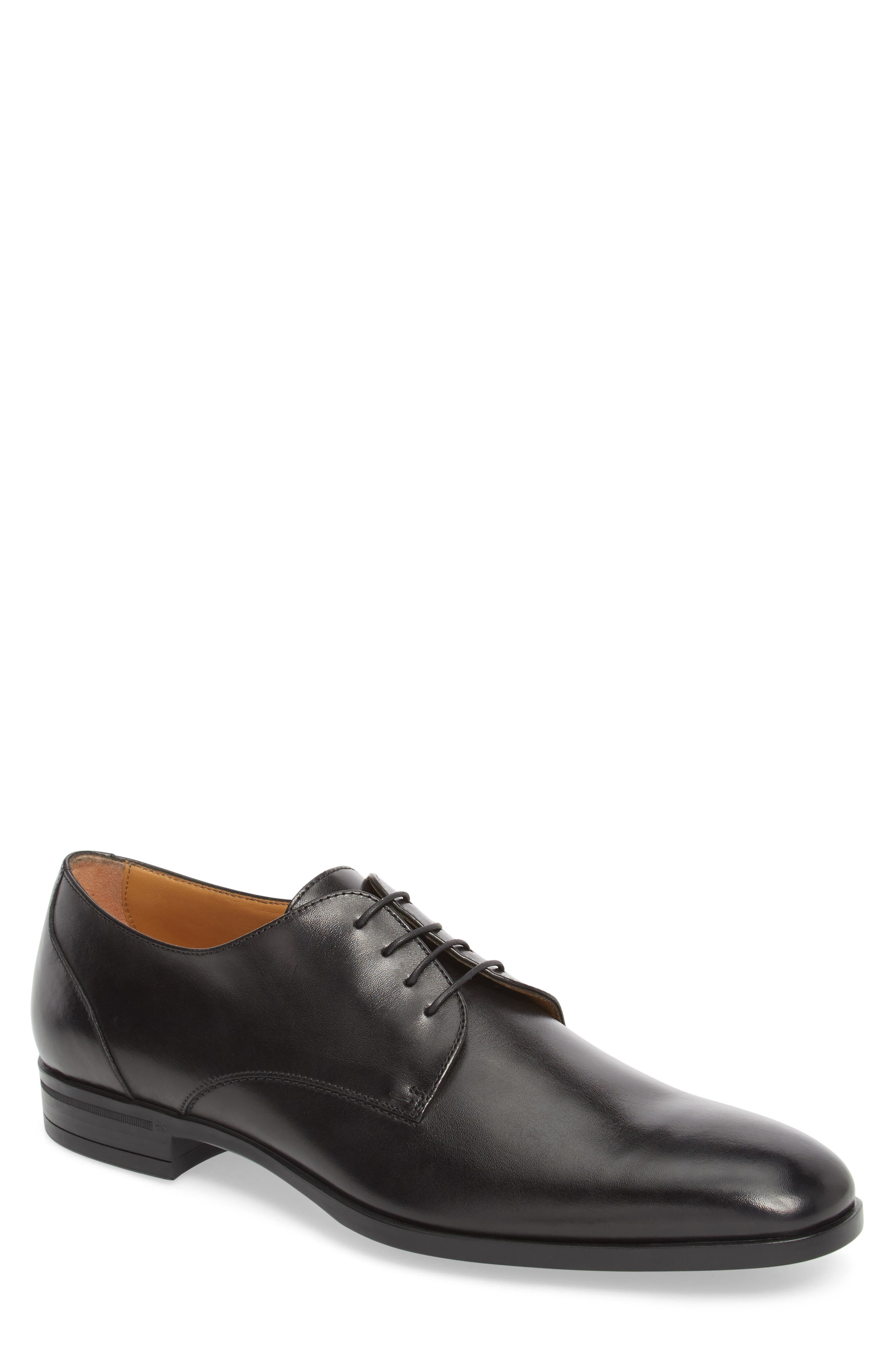 Portland Plain Toe Derby,                             Main thumbnail 1, color,                             BLACK LEATHER