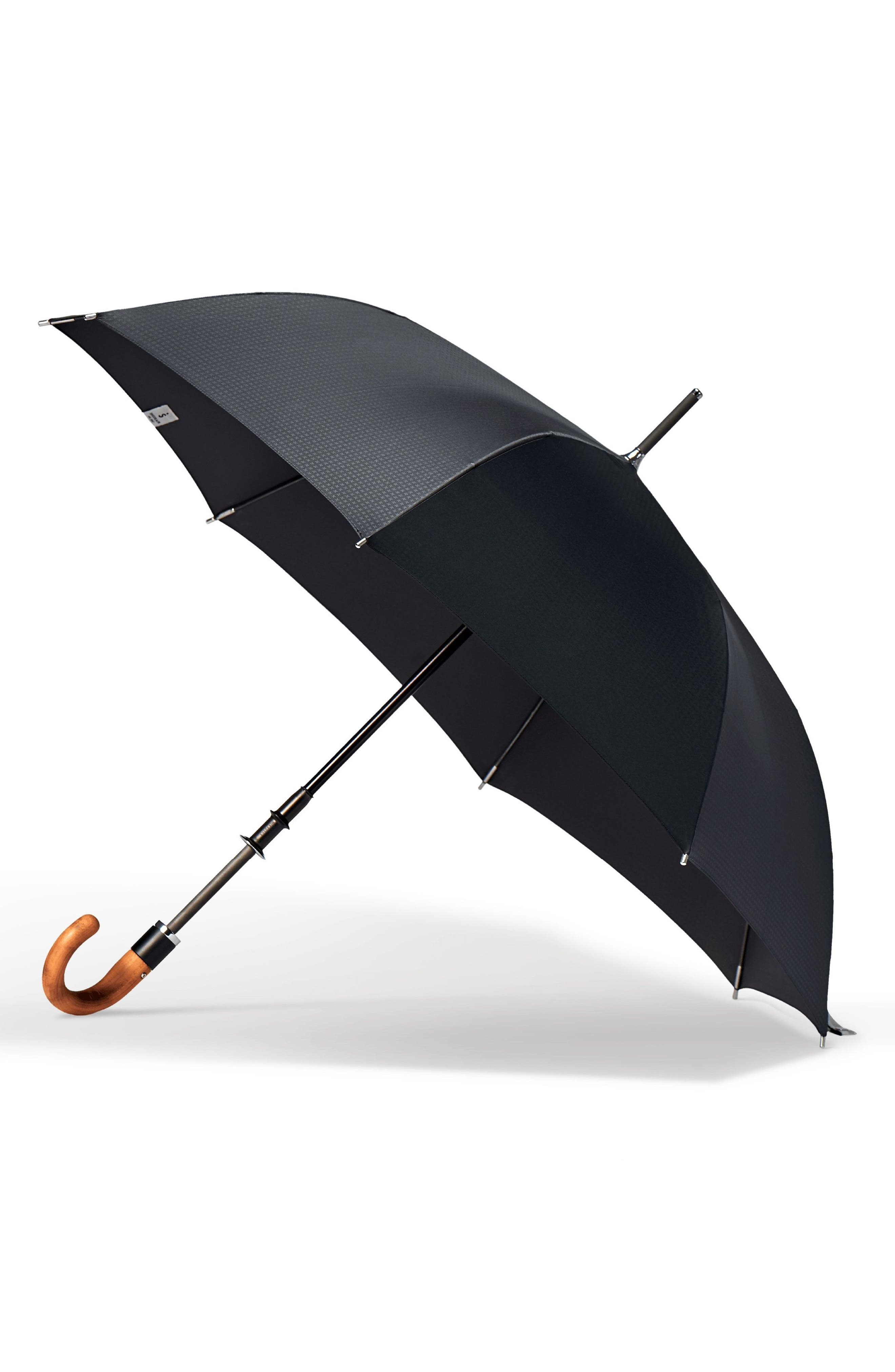 Stratus Auto Open Stick Umbrella,                             Main thumbnail 1, color,                             BLACK