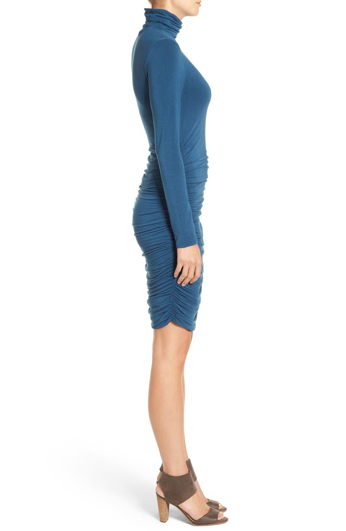 Side Ruched Turtleneck Dress,                             Alternate thumbnail 4, color,                             401