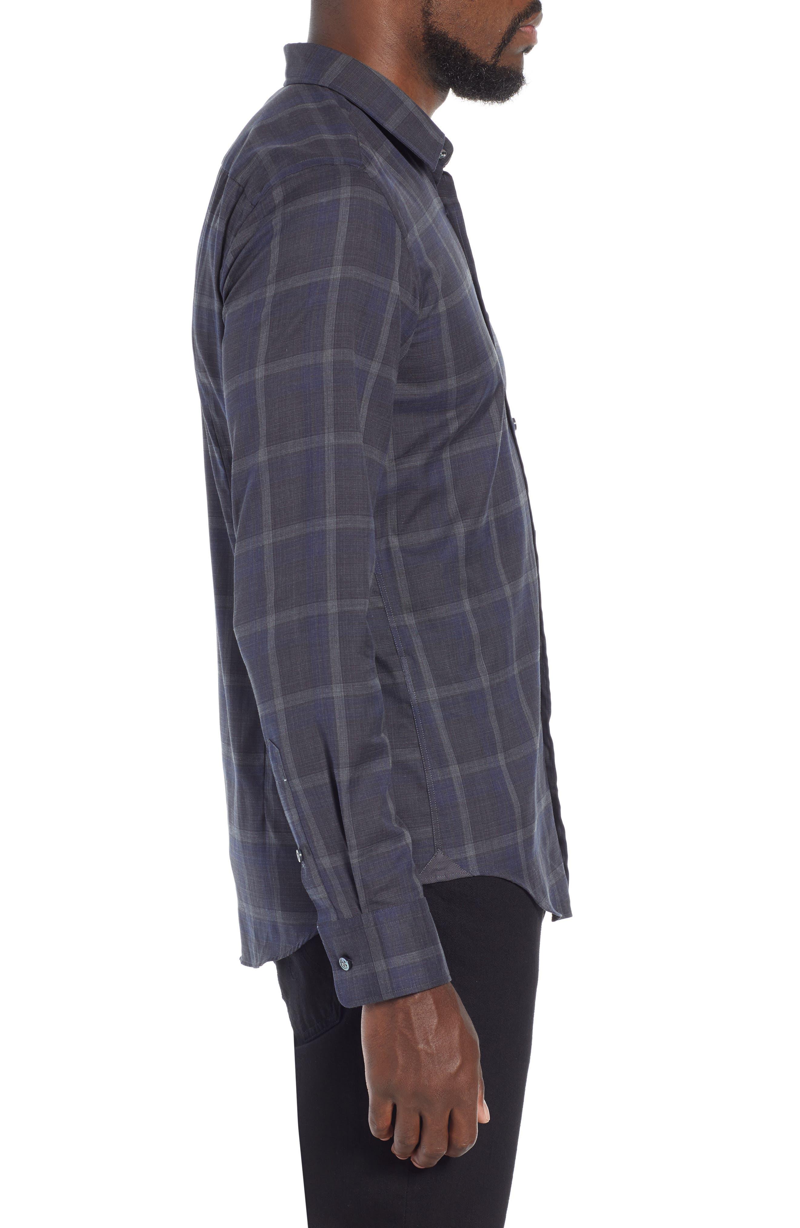 T-Riccardo Slim Fit Plaid Flannel Sport Shirt,                             Alternate thumbnail 4, color,                             BLUE