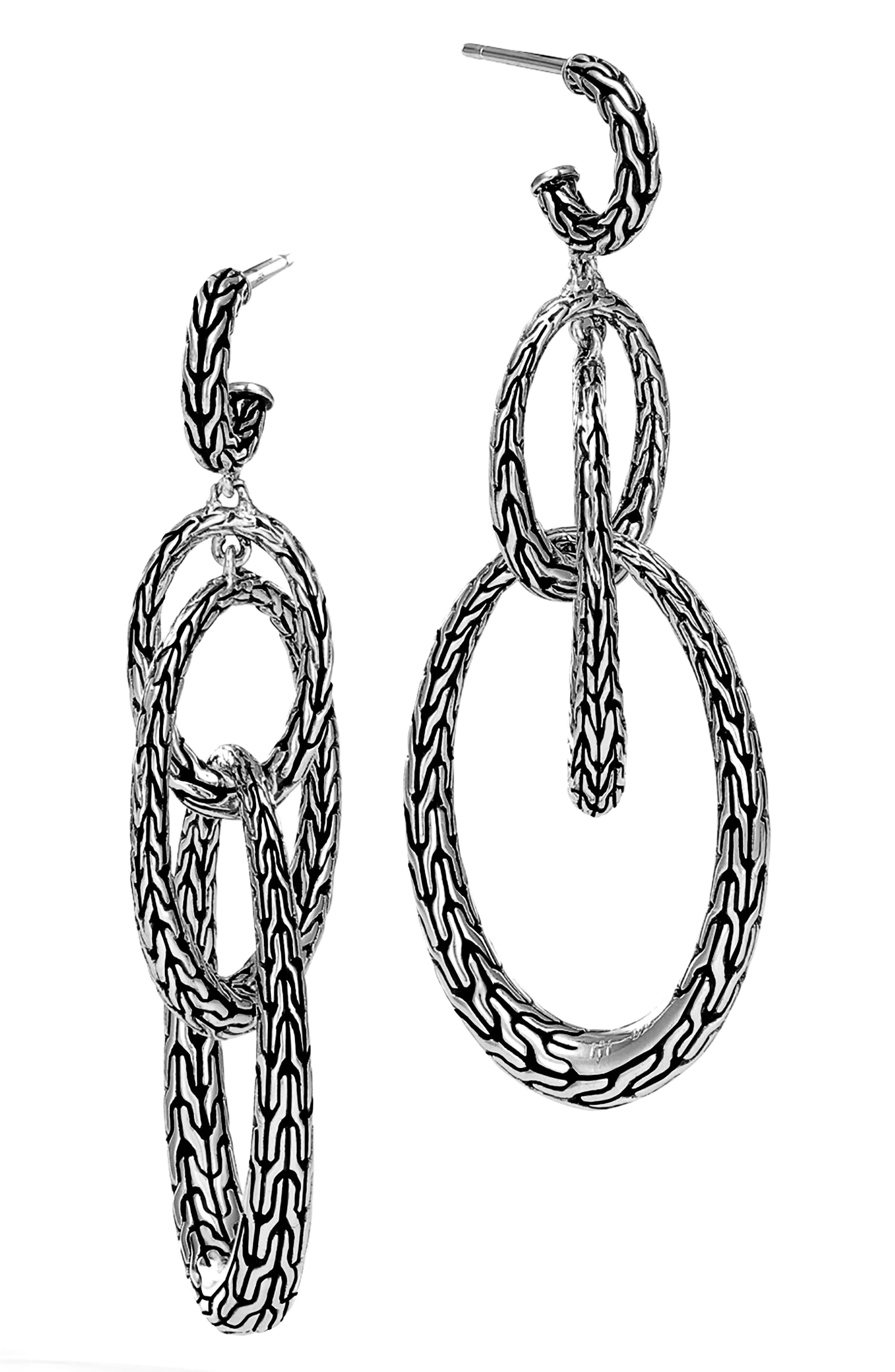 Classic Chain Drop Earrings,                             Main thumbnail 1, color,                             SILVER