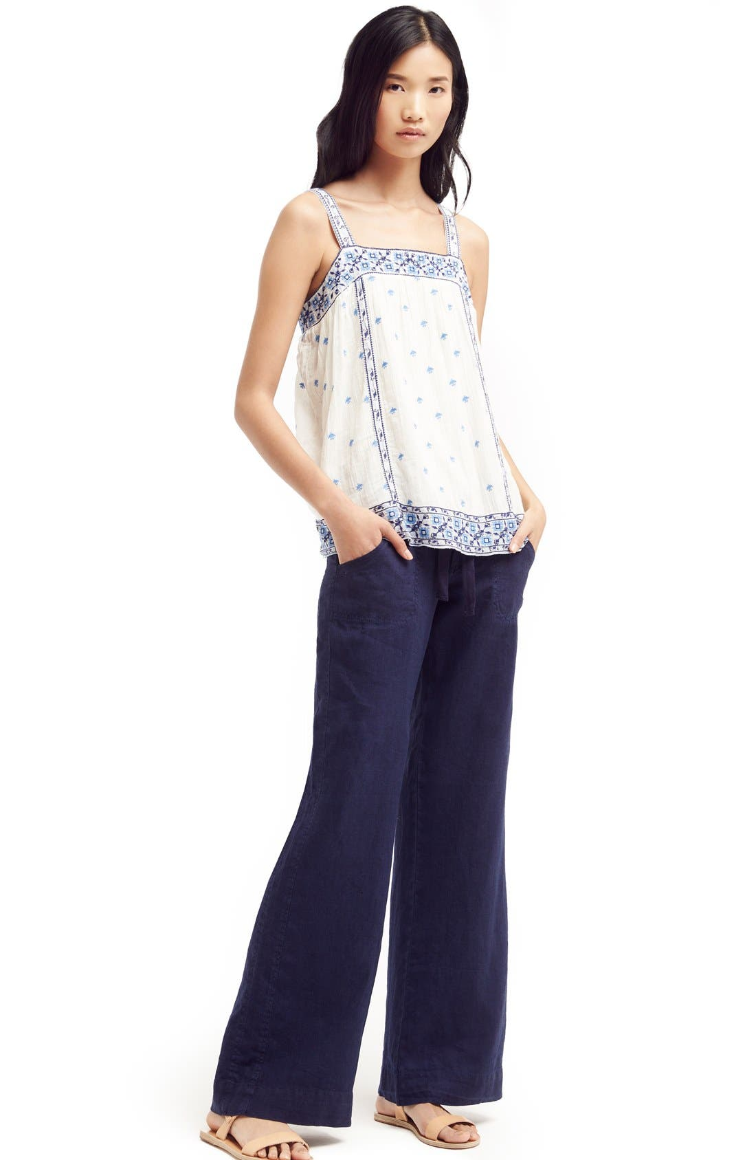 Wide Leg Linen Pants,                             Alternate thumbnail 4, color,                             418