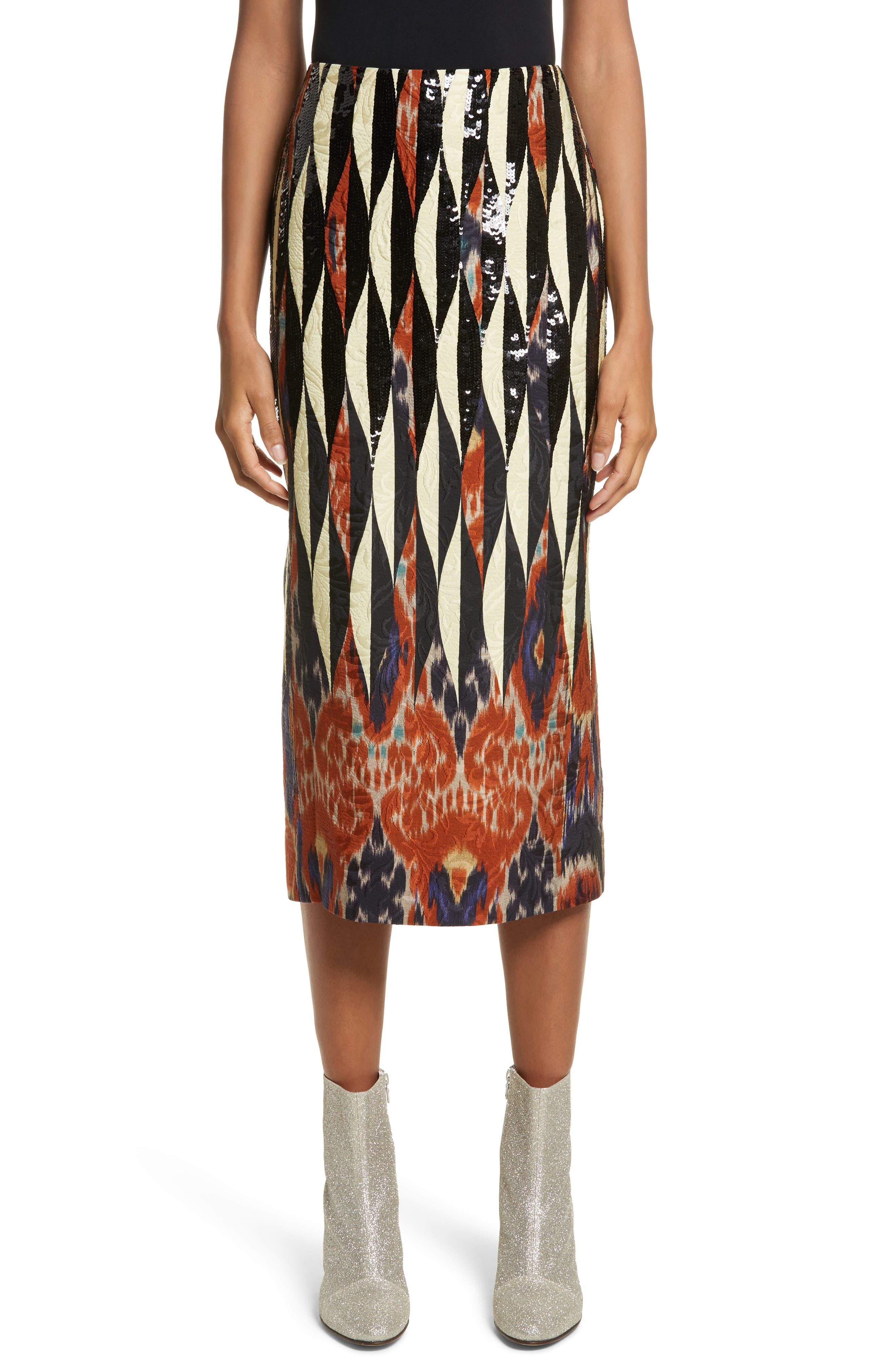 Embroidered Ikat Midi Skirt,                             Main thumbnail 1, color,                             800