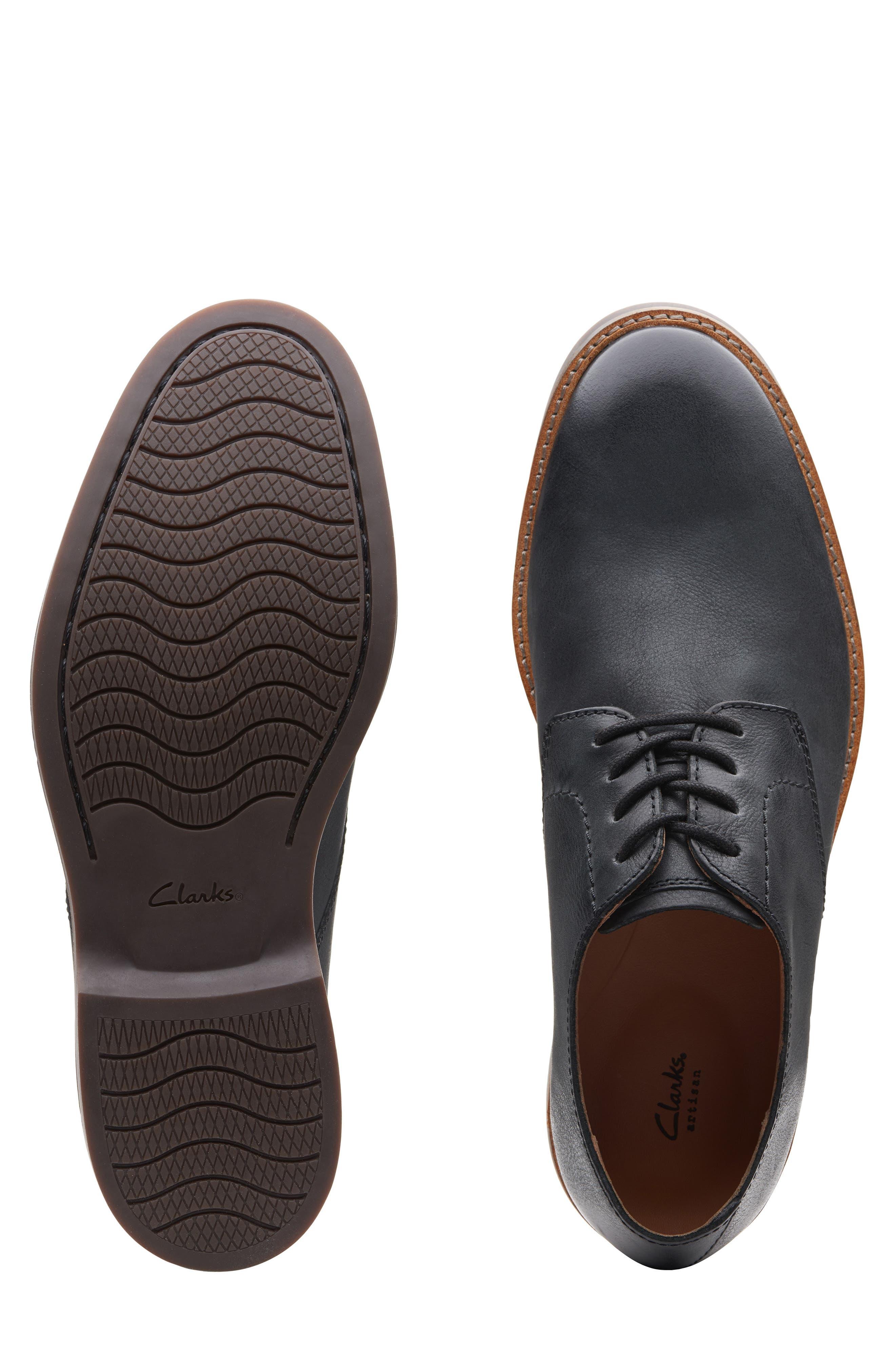 Clarks<sup>®</sup> Atticus Plain Toe Derby,                             Alternate thumbnail 5, color,                             BLACK LEATHER