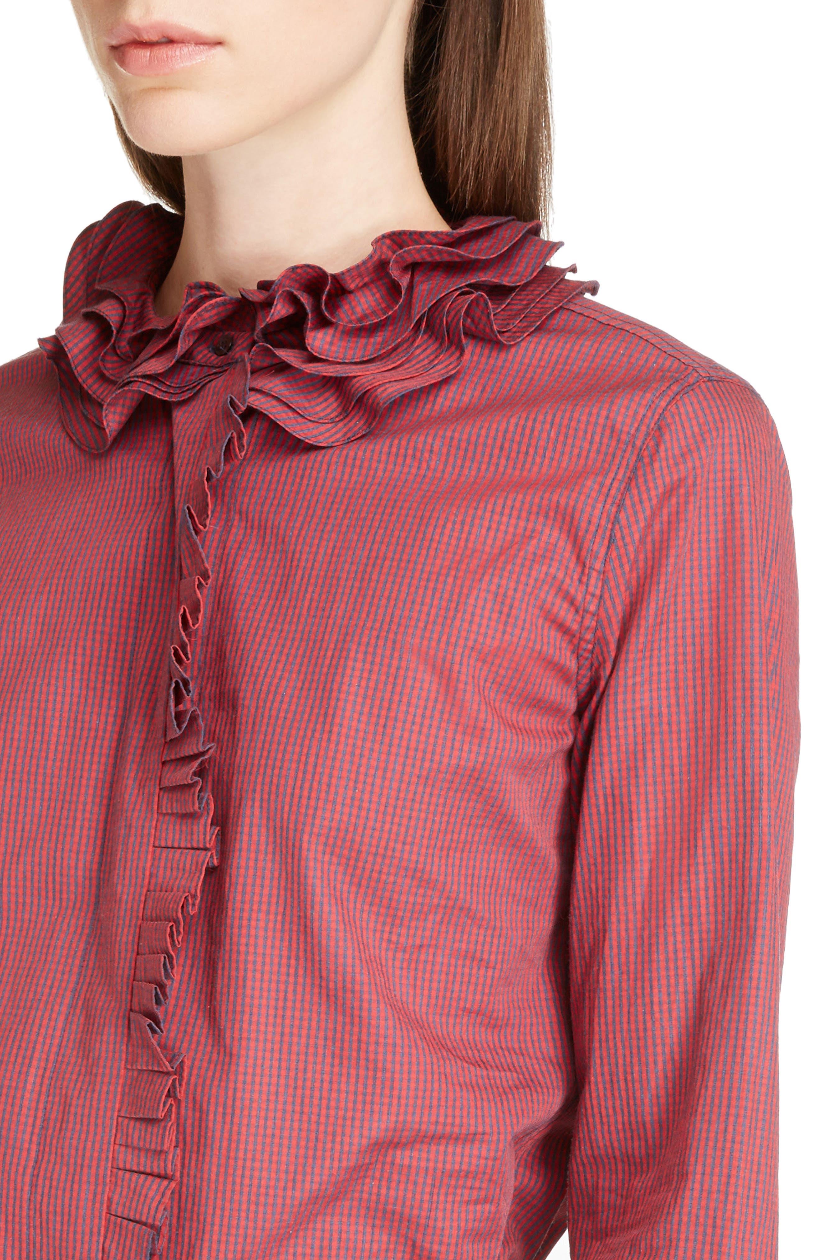 Juliette Mini Gingham Cotton Poplin Shirt,                             Alternate thumbnail 4, color,                             600