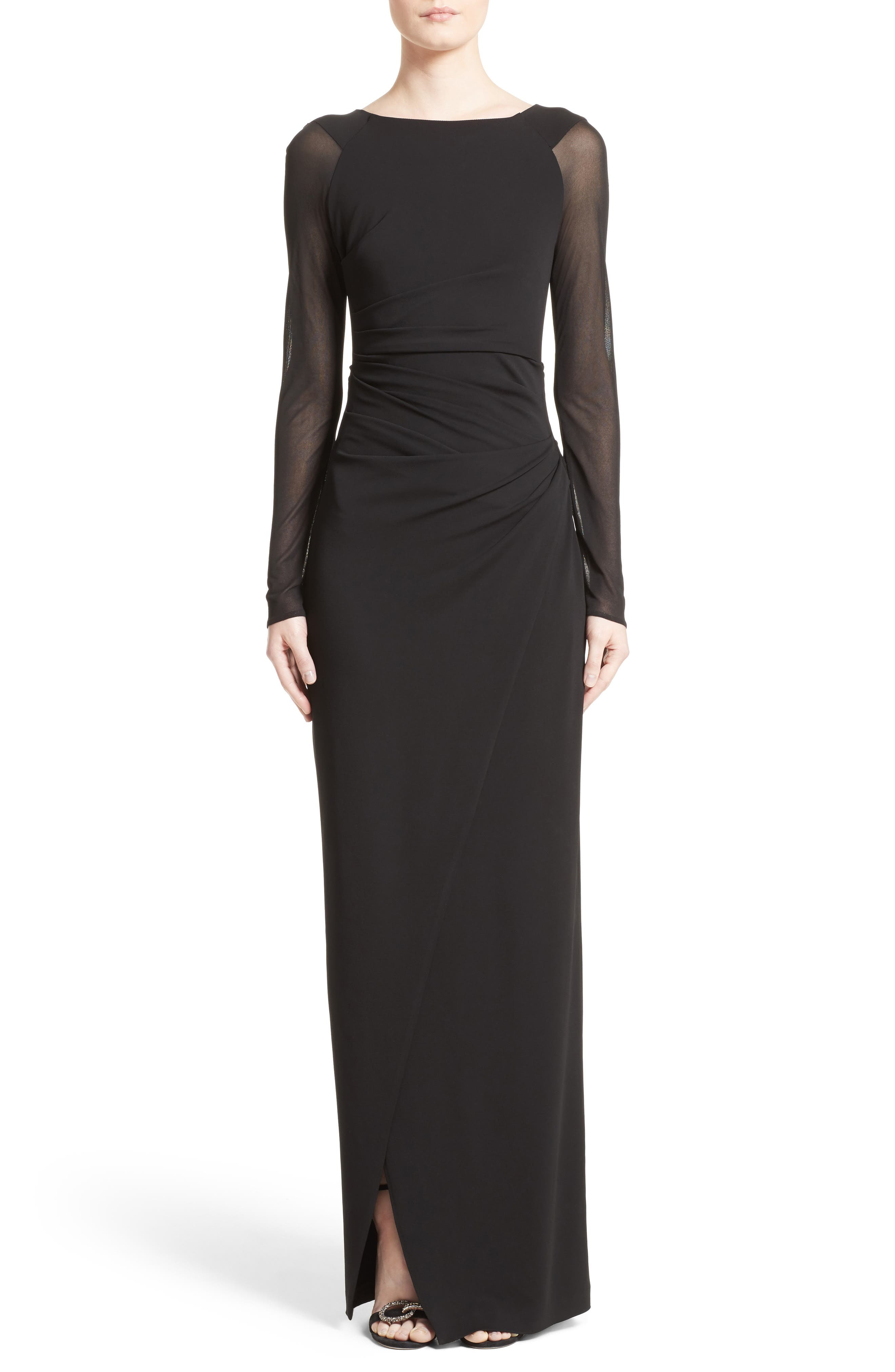 Sheer Sleeve Jersey Column Gown,                             Main thumbnail 1, color,                             001