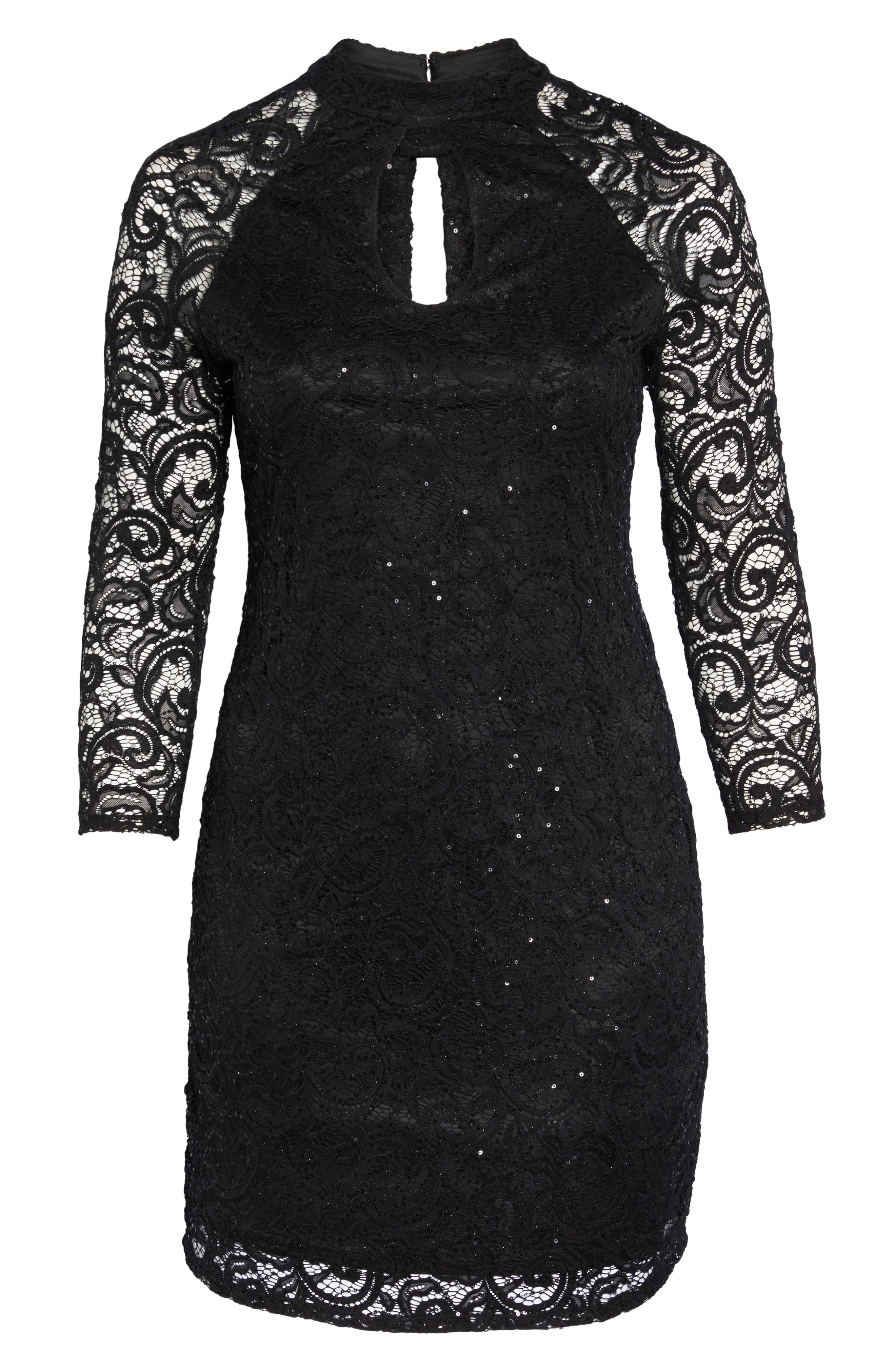 Sequin Keyhole Sheath Dress,                             Alternate thumbnail 6, color,                             001