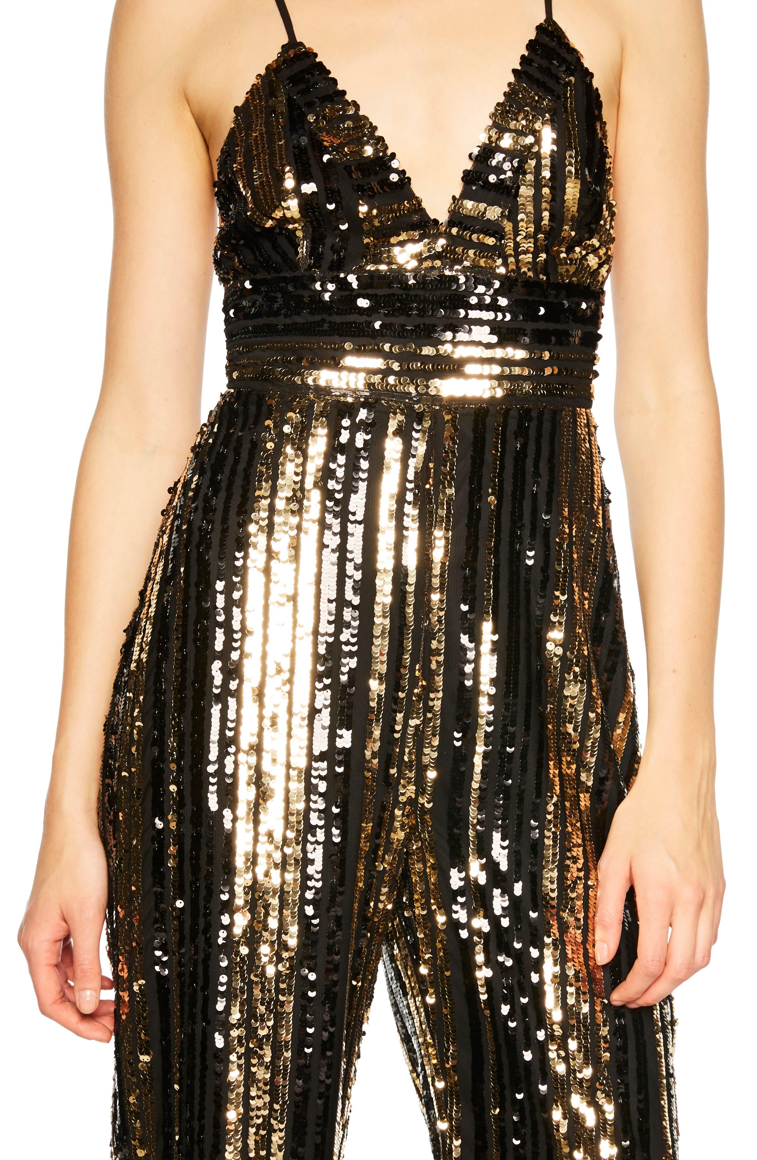 Goldie Sequin Stripe Jumpsuit,                             Alternate thumbnail 4, color,                             GOLD STRIPE