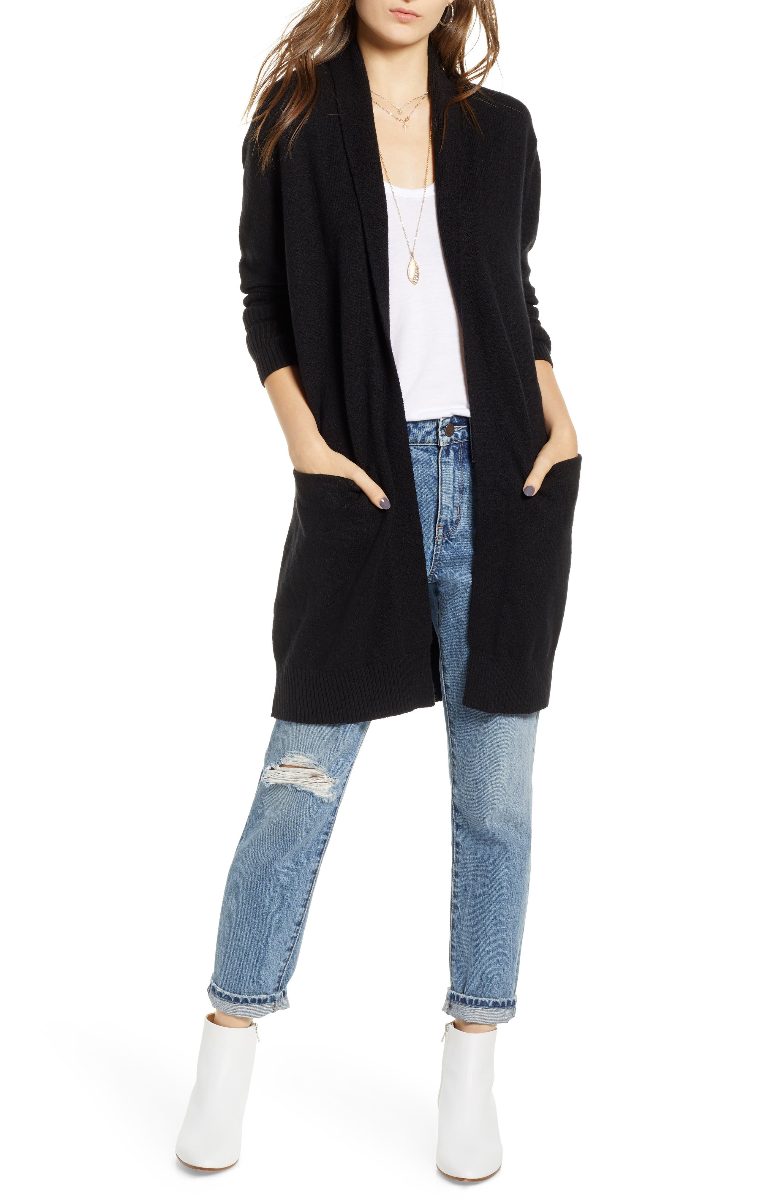 TREASURE & BOND Rib Knit Detail Cardigan, Main, color, 001