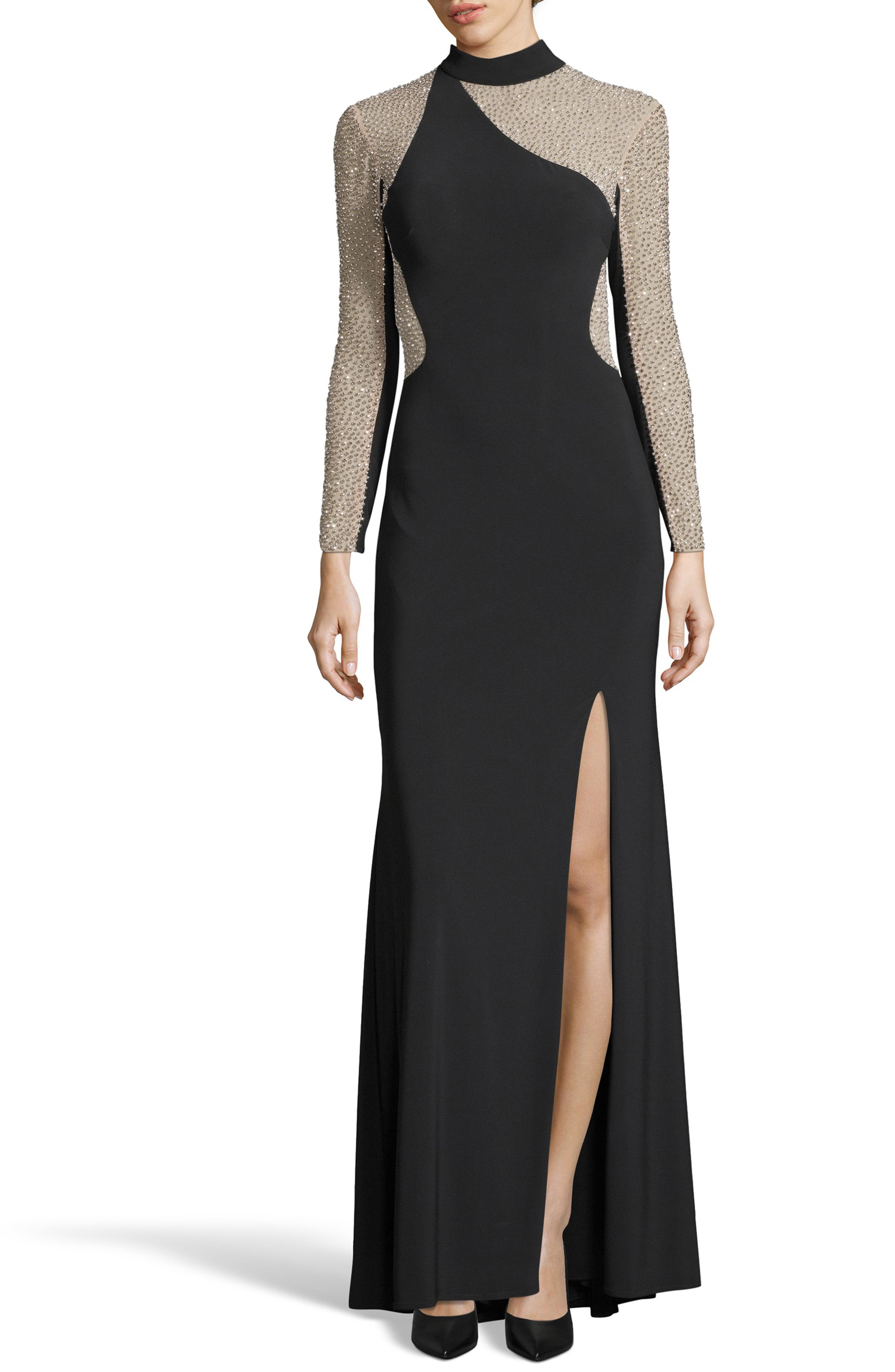 Ity Bead Embellished Jersey Gown,                             Main thumbnail 1, color,                             BLACK/ NUDE/ SILVER