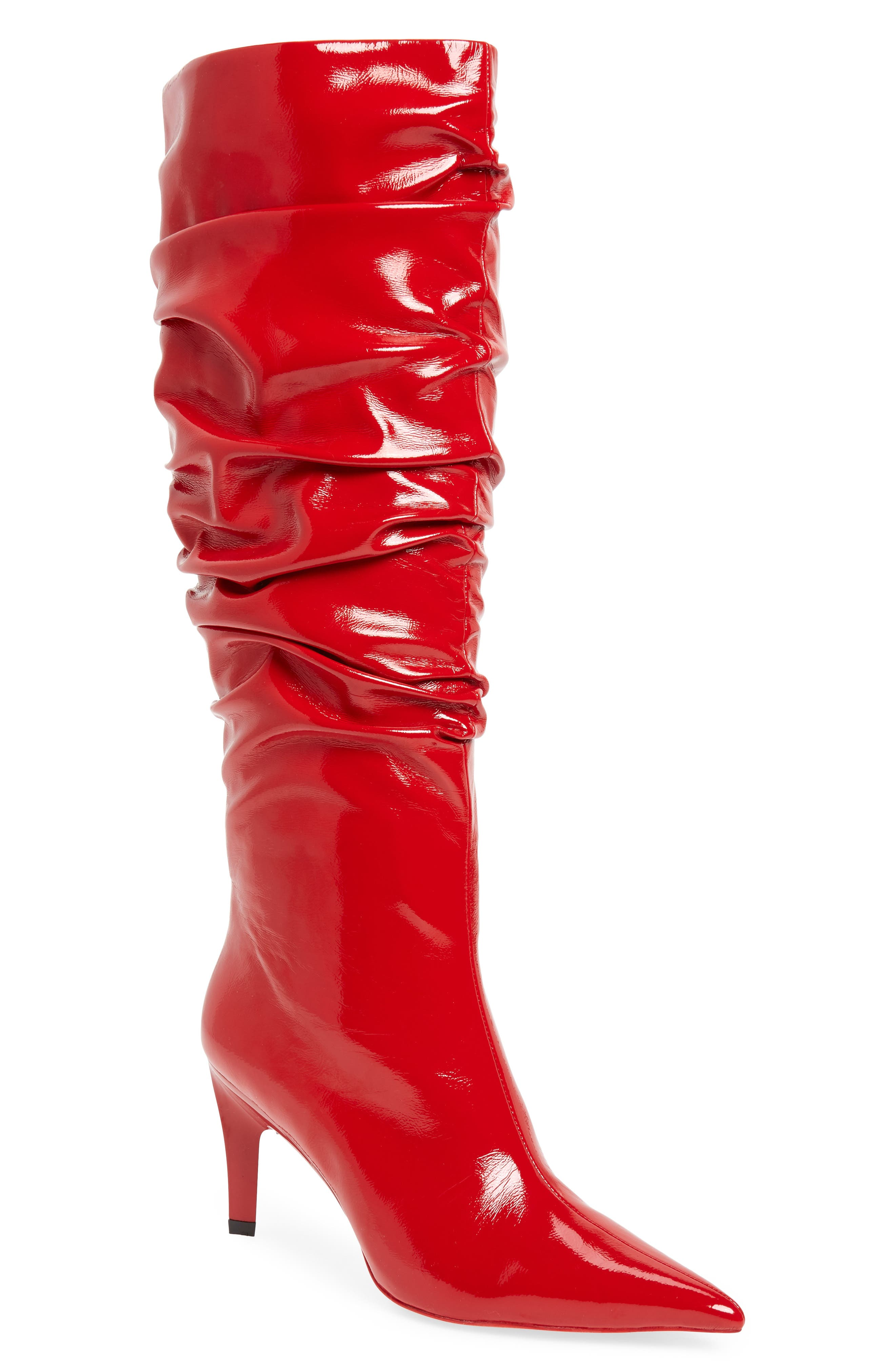 Brutish Knee High Boot,                             Main thumbnail 1, color,                             RED PATENT